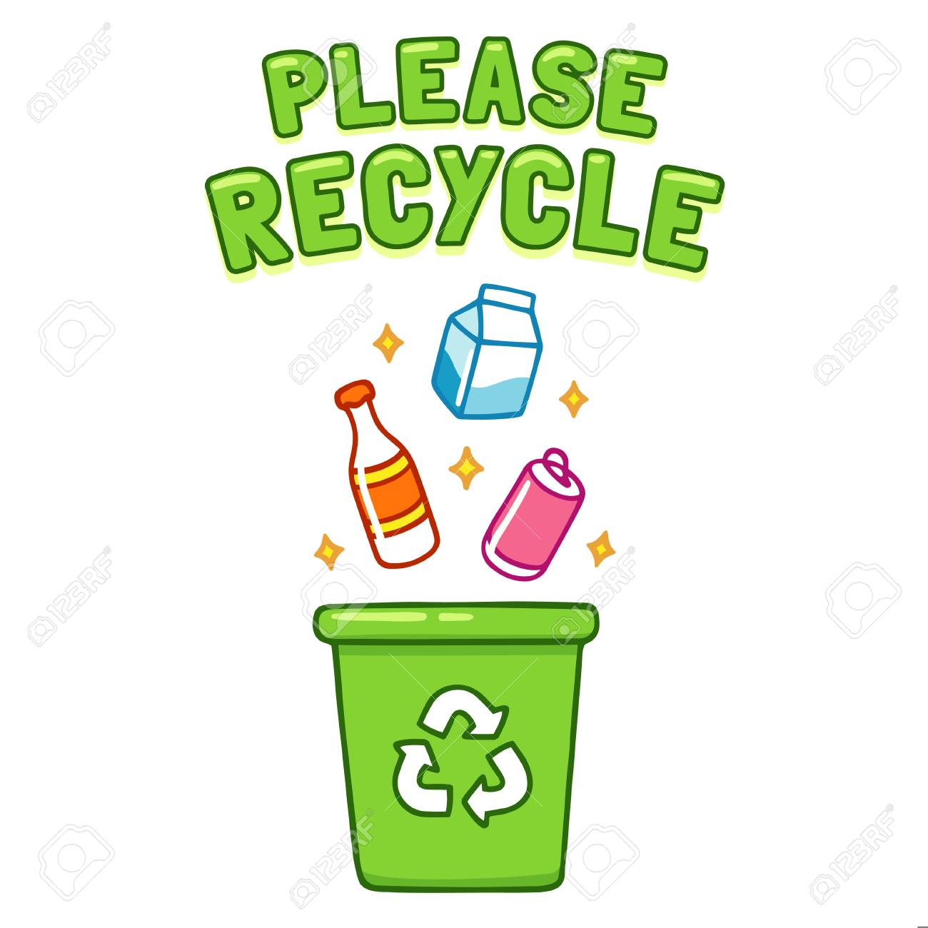 Cute Cartoon Please Recycle Poster. Throwing Different Type Of ...