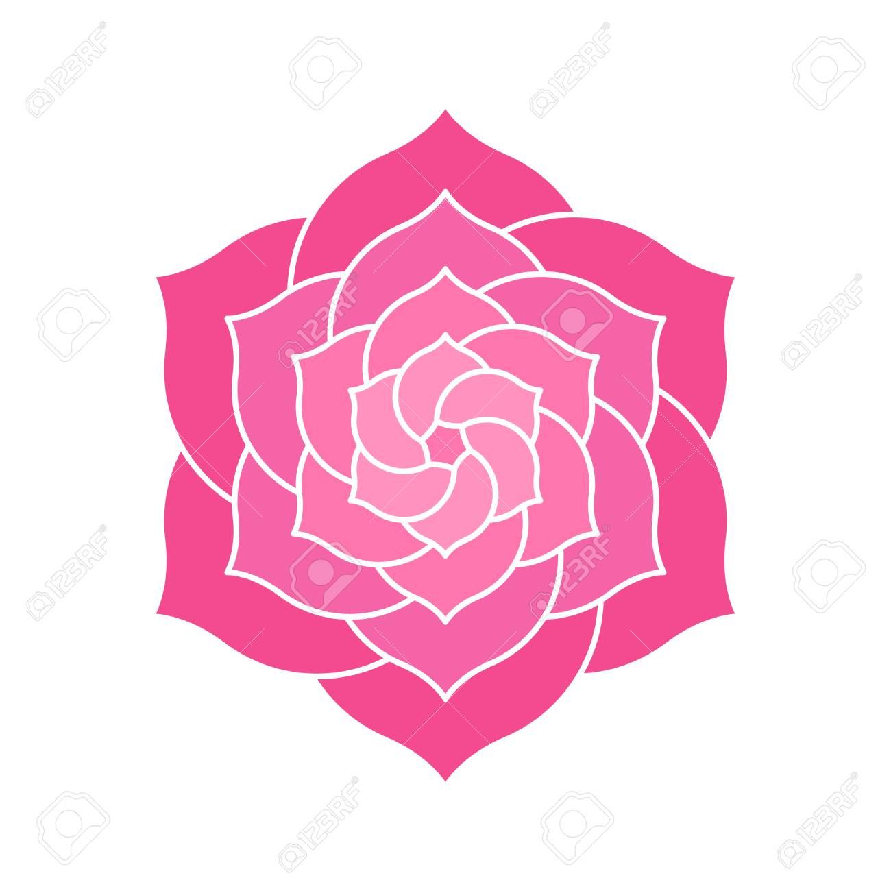 Elegant geometric lotus or camelia illustration. Abstract pink flower shape with many petals for logo design. - 108339199