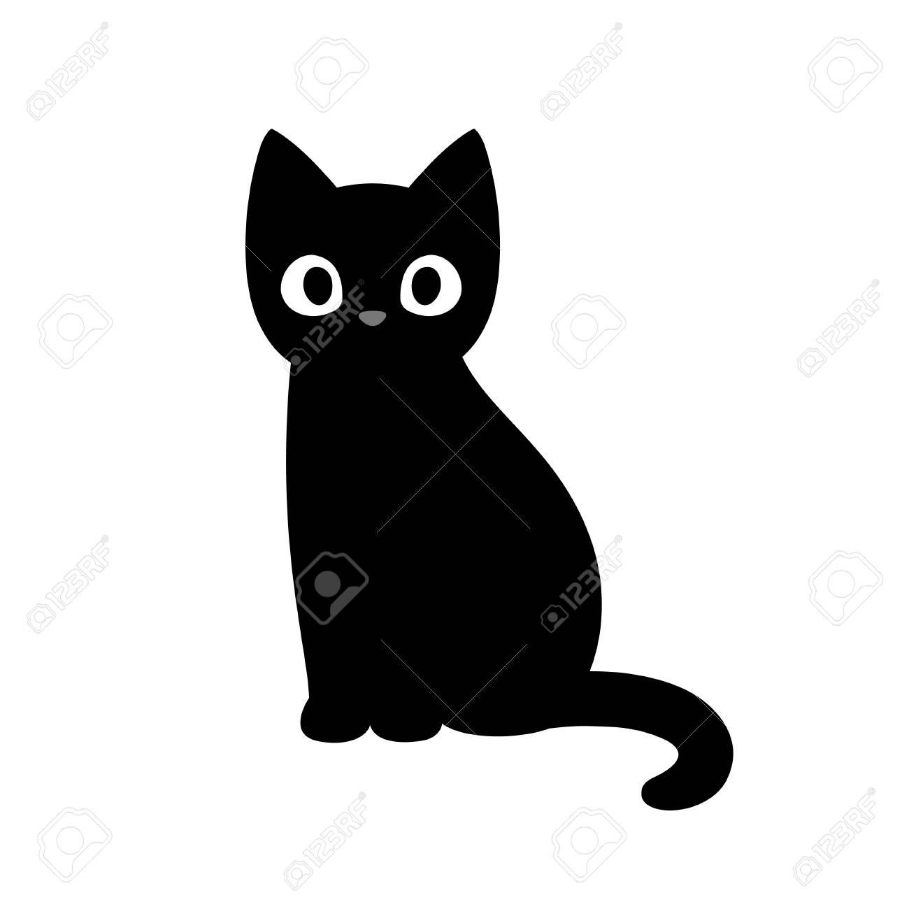 Cartoon Black Cat Drawing Simple And Cute Kitten Silhouette Royalty Free Cliparts Vectors And Stock Illustration Image 111672456