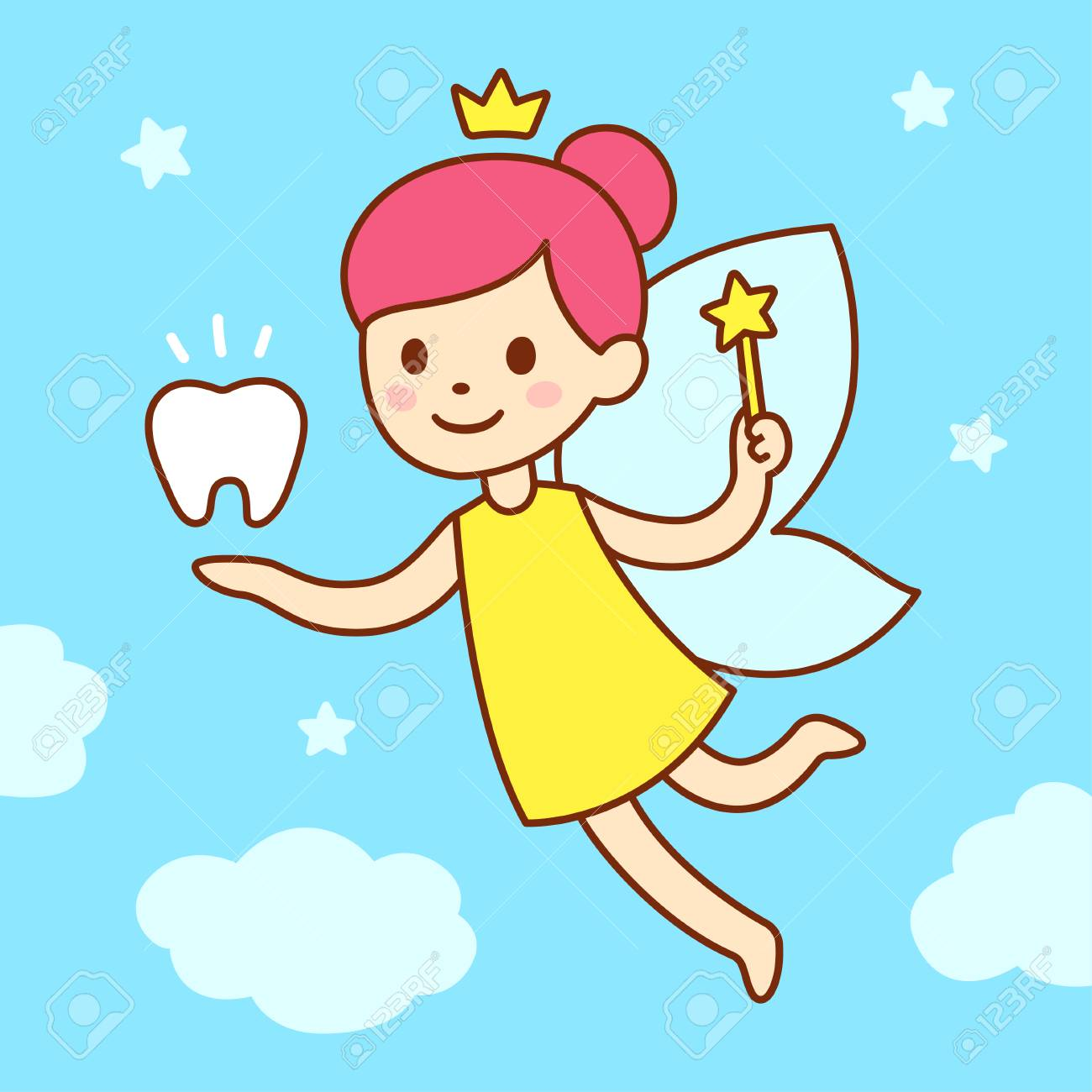 Cute little tooth fairy with wings, magic wand and a tooth. Cartoon vector illustration. - 110288689