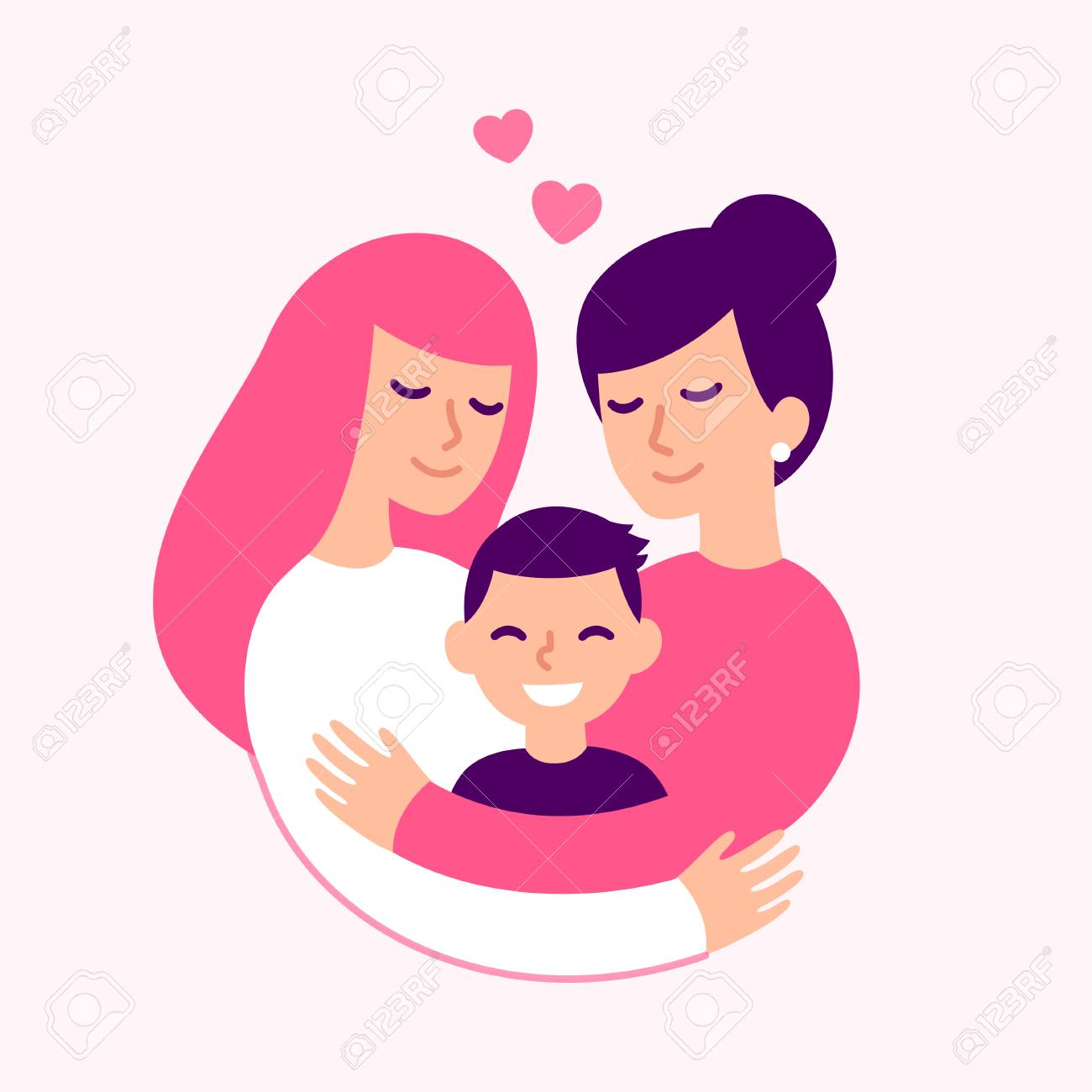 Gay couple with kid, happy women parents and son. Cute loving family hugging, vector illustration. - 110278175