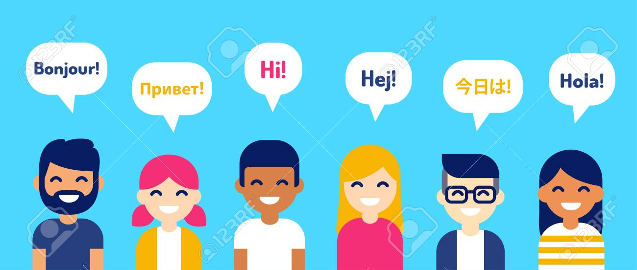 International group of people saying Hi in different languages. Diverse cartoon characters, modern flat vector style illustration. Learning, education and communication design element. - 109850936