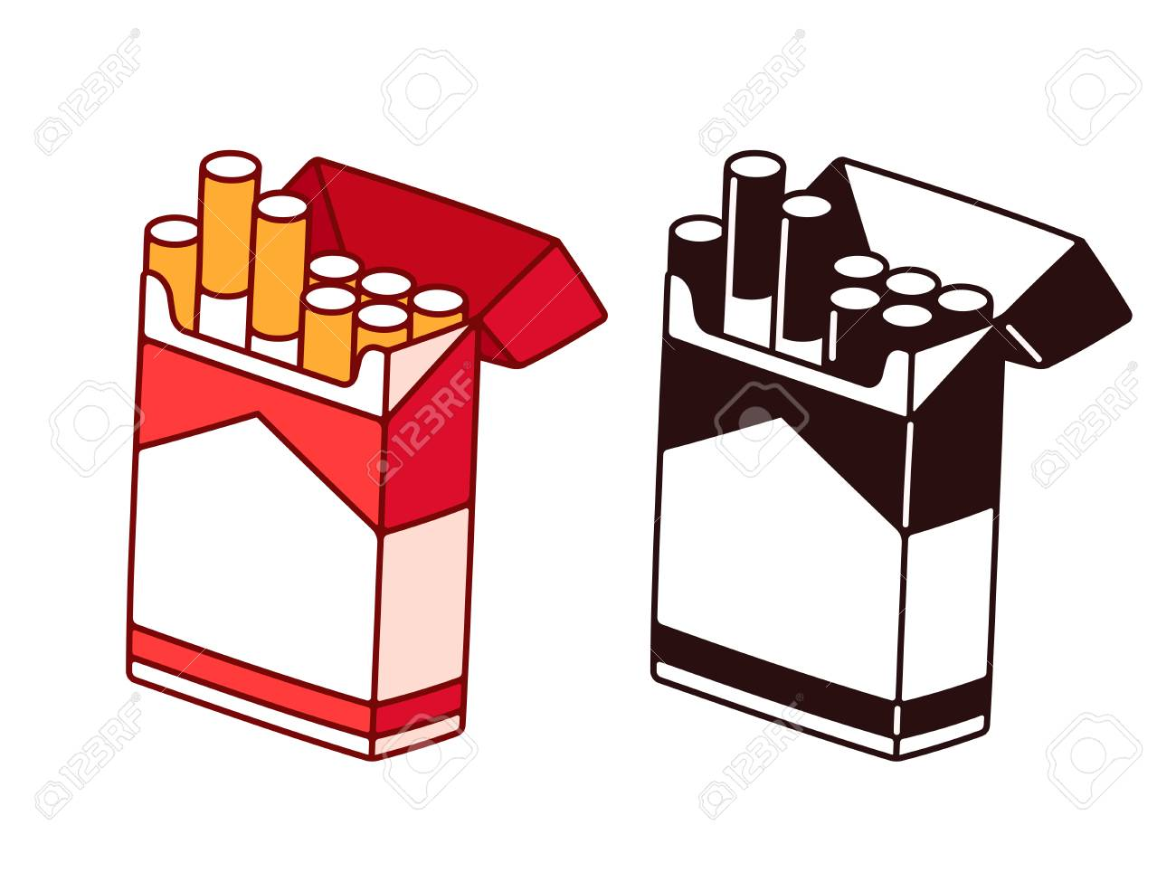 Open cigarette pack cartoon drawing in color and black and white. Smoking habit vector illustration. - 109675114