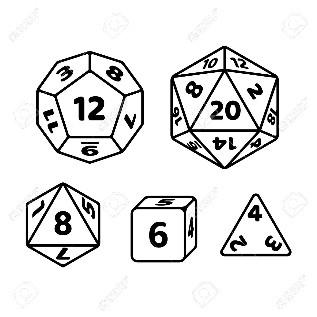 Set of polyhedron dice for fantasy RPG tabletop games. d20, d12, d8 and cube with numbers on sides. Black and white vector icons. - 110278181