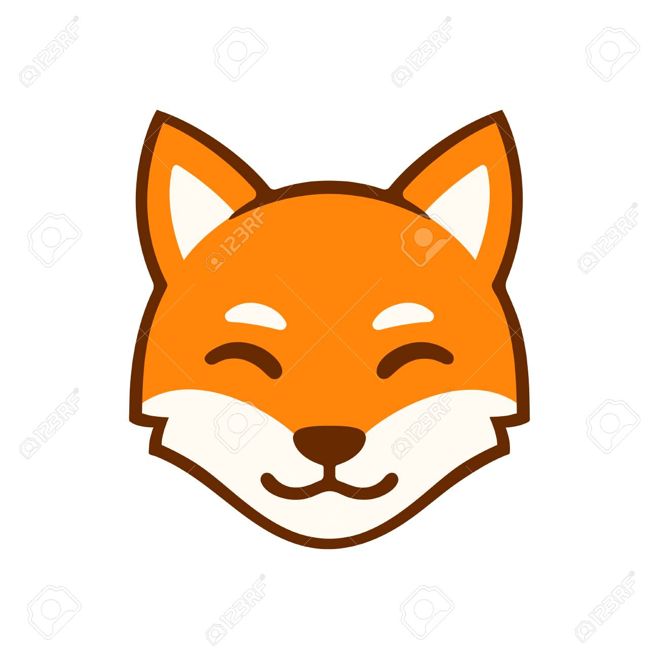 Cute Cartoon Smiling Fox Face Logo Stylized Red Fox Head Vector Royalty Free Cliparts Vectors And Stock Illustration Image 110278180