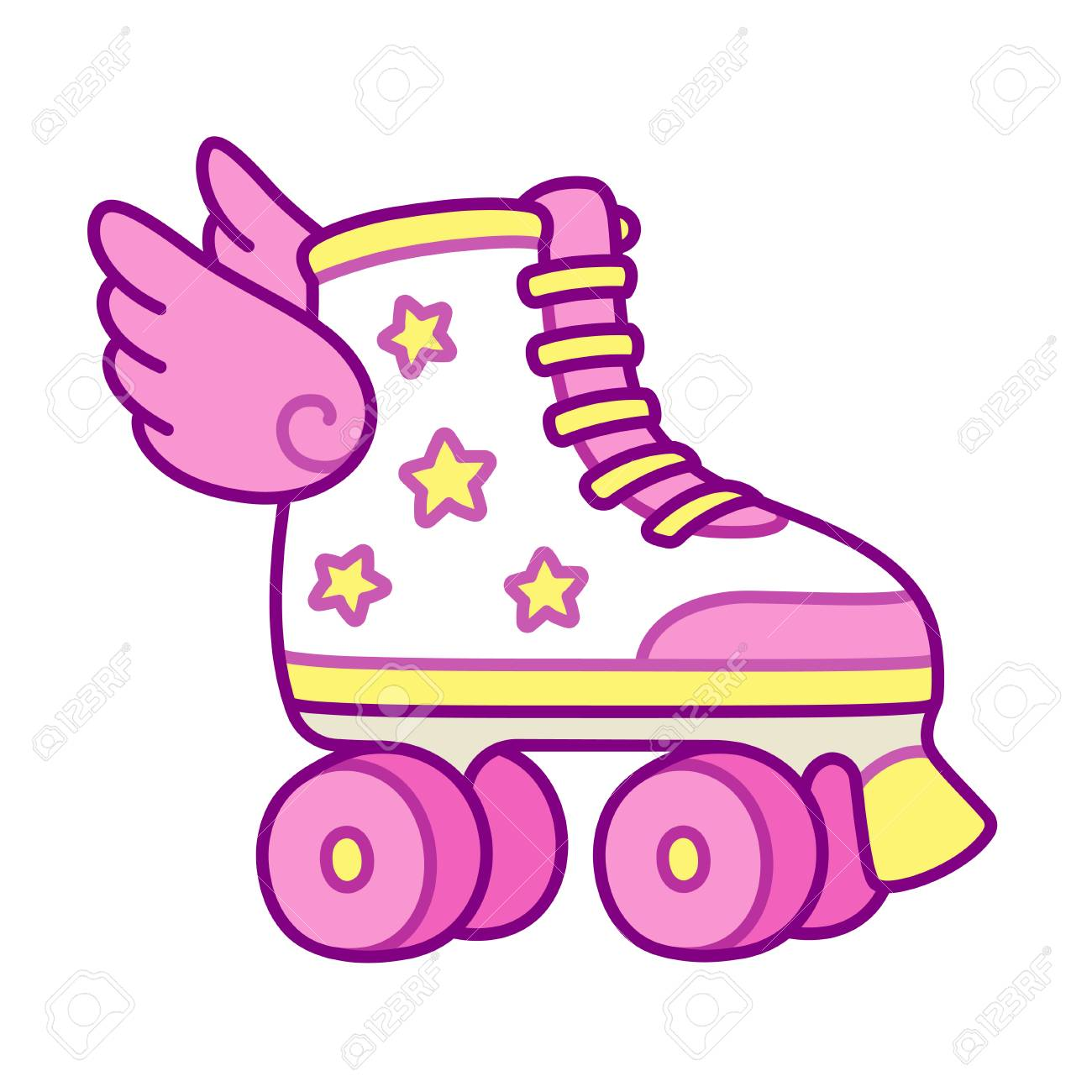 Cute pink girly roller skates with stars and wings. Retro quad rollers cartoon vector illustration