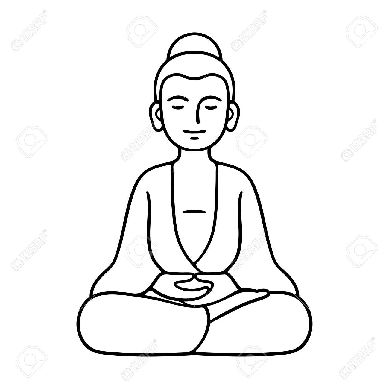 Simple and minimal buddha statue sitting in meditation zen buddhist