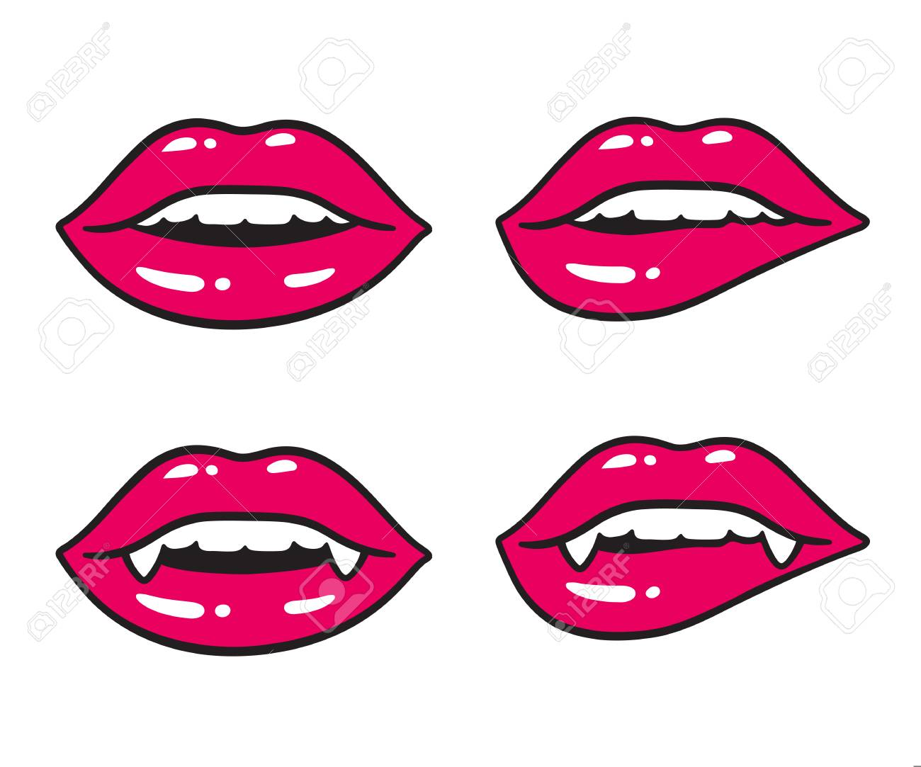 Sexy Lips Illustration Set Vampire Mouth With Fangs And Human Royalty Free Cliparts Vectors And Stock Illustration Image 114514407