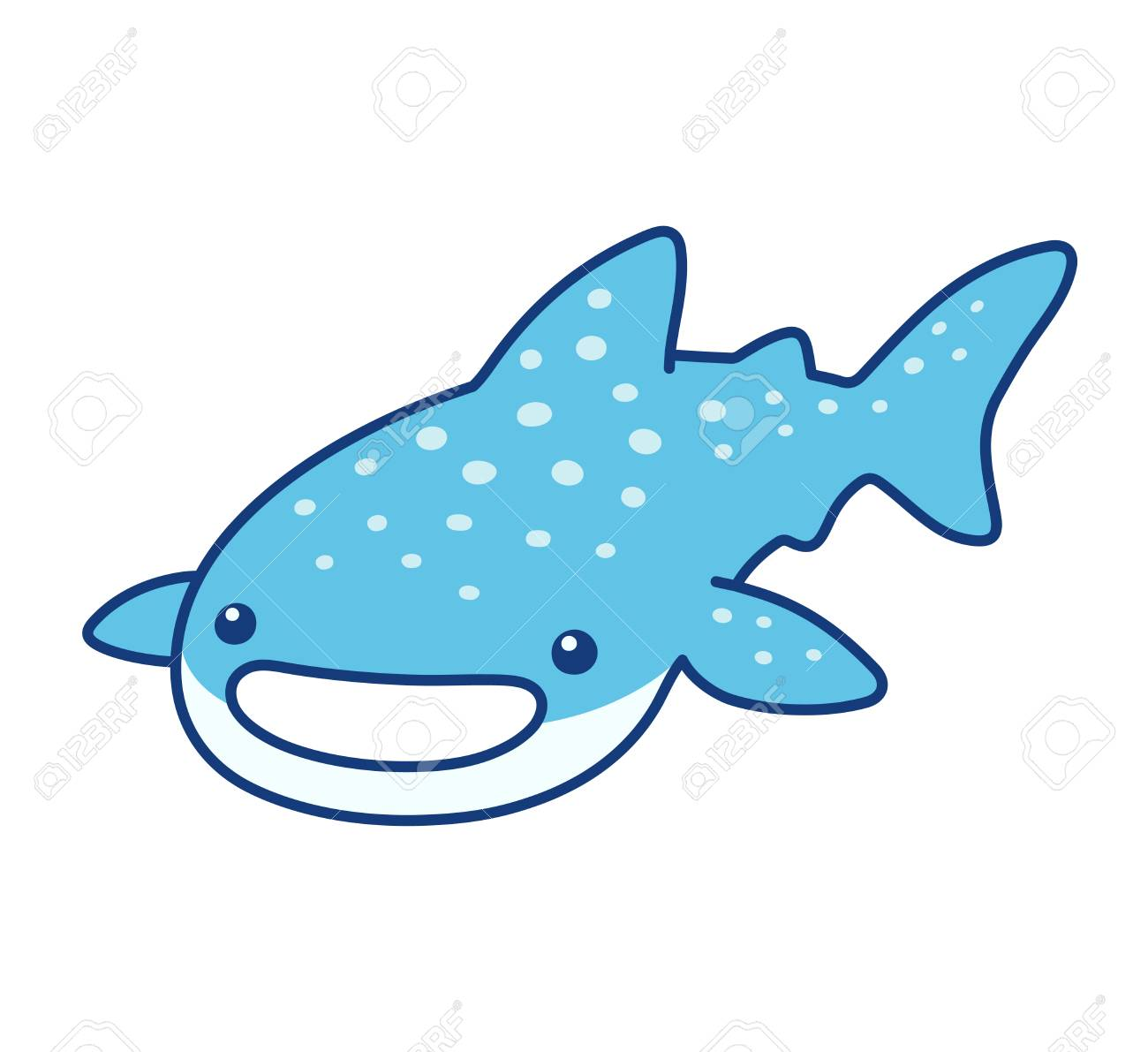 Cute Cartoon Whale Shark Drawing Funny Character Vector