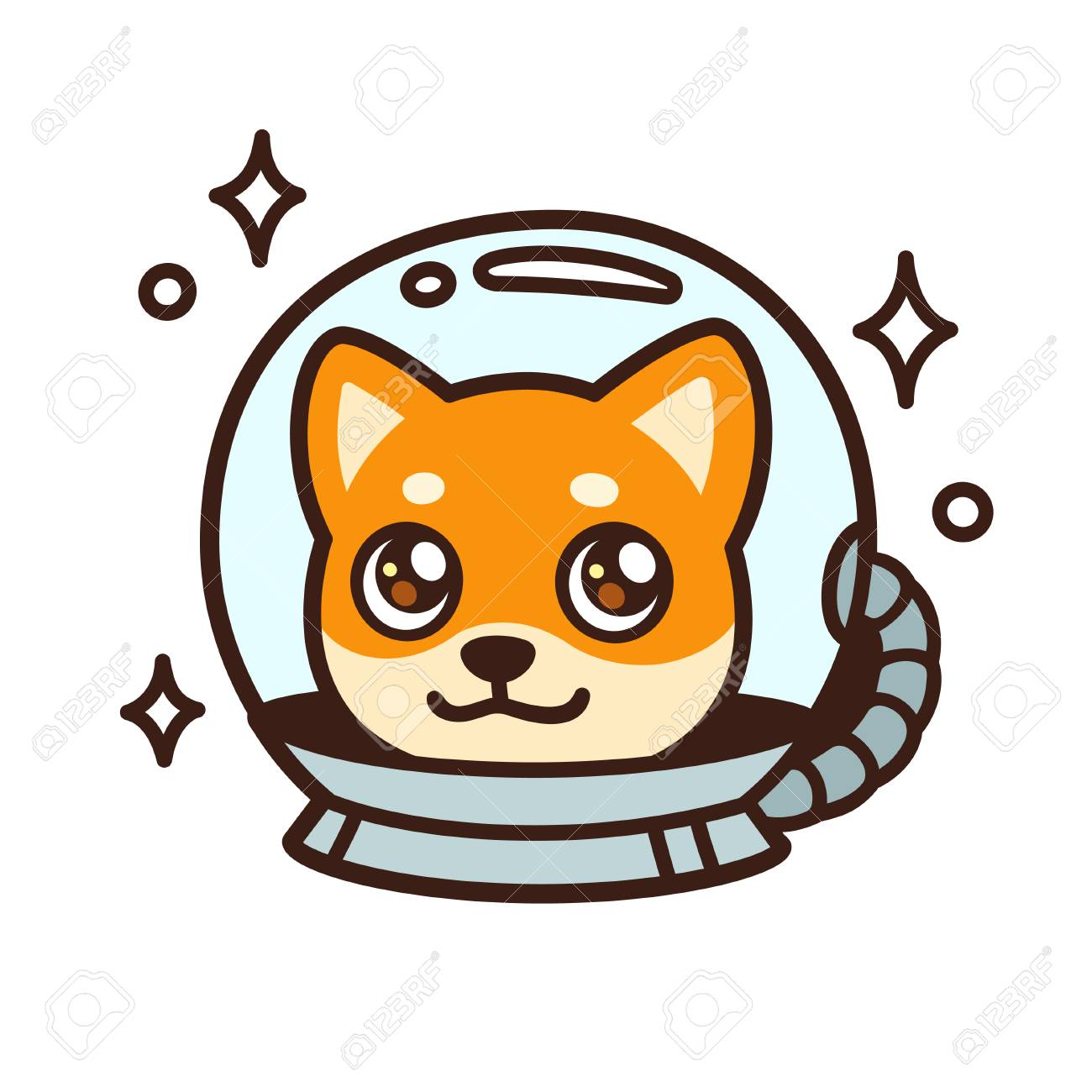 Cute Cartoon Space Dog Character Drawing Kawaii Anime Style Royalty Free Cliparts Vectors And Stock Illustration Image 111468529
