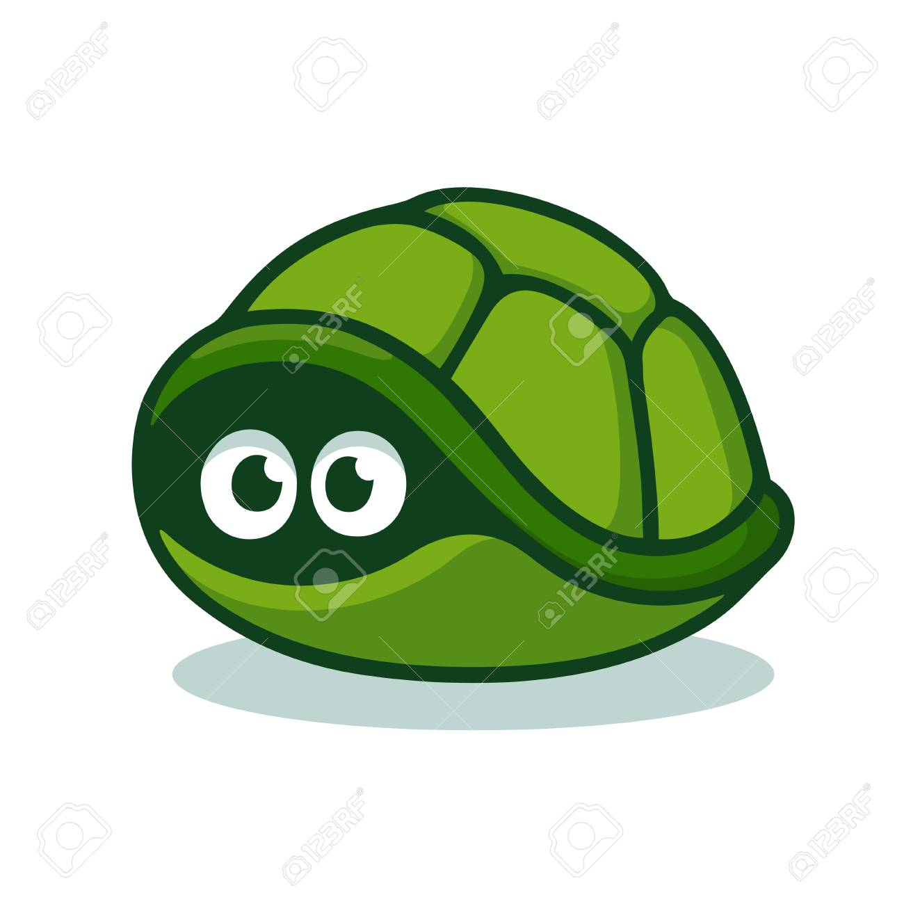 Cartoon Turtle Afraid To Come Out Of Its Shell Cute Hiding