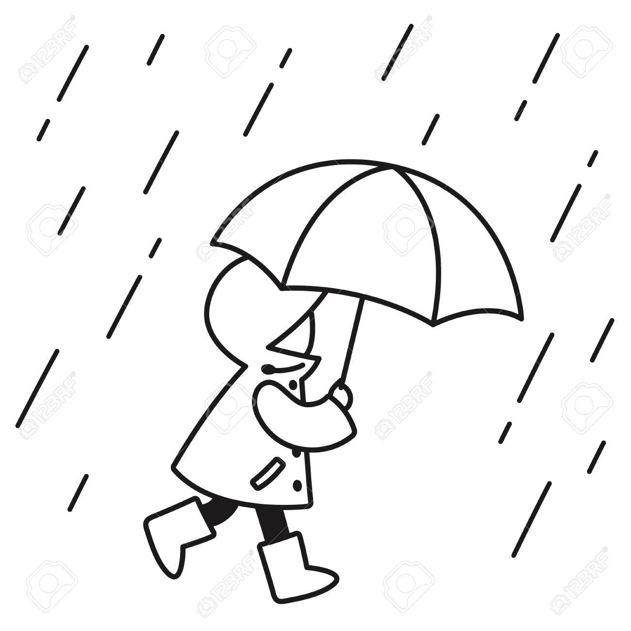 Black and white line drawing of little kid with raincoat and