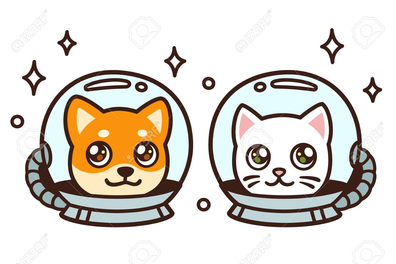 Cute Cartoon Space Cat And Dog Drawing Kawaii Anime Style Puppy Royalty Free Cliparts Vectors And Stock Illustration Image 126947065