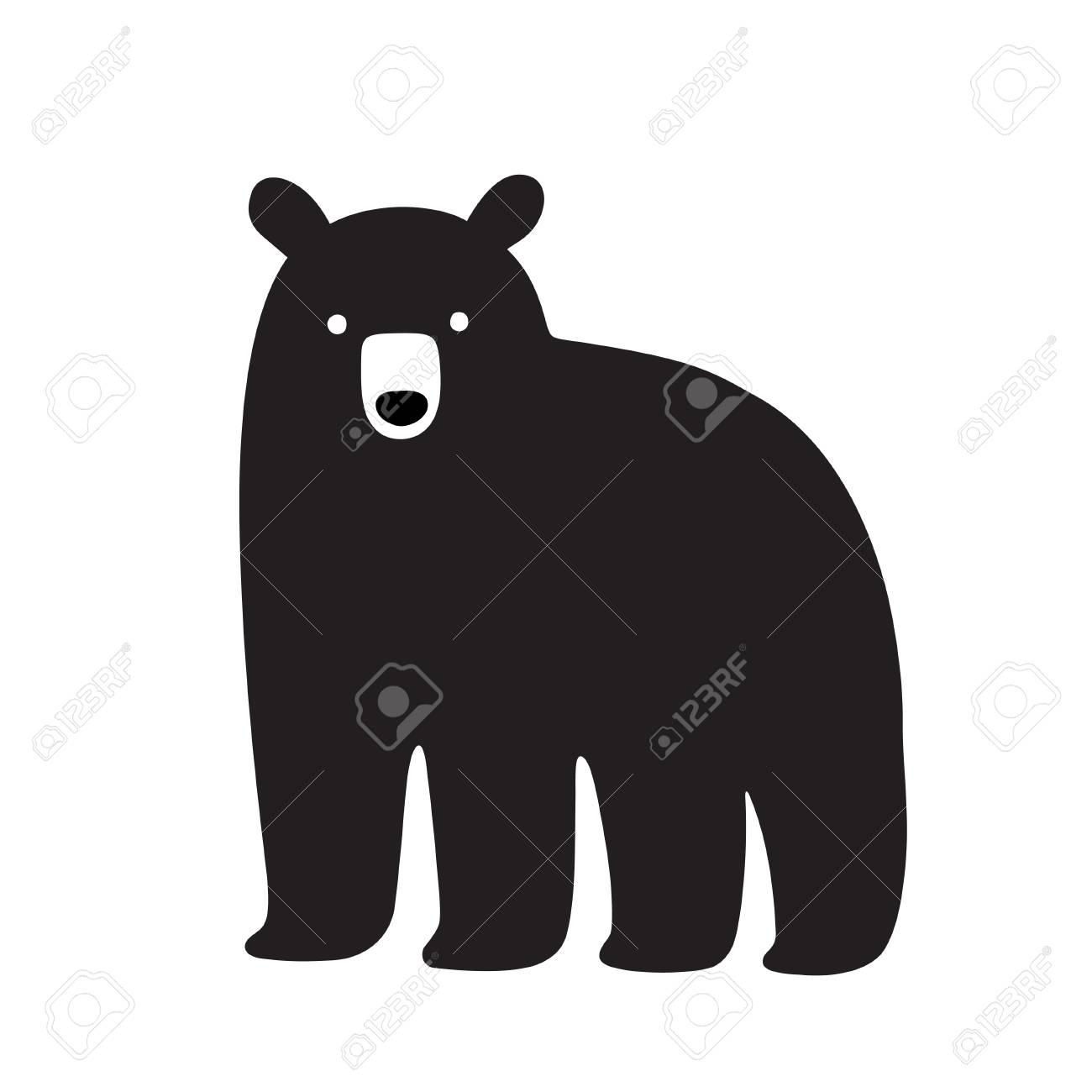 American Black Bear Drawing, Simple Cartoon Illustration. Isolated ...