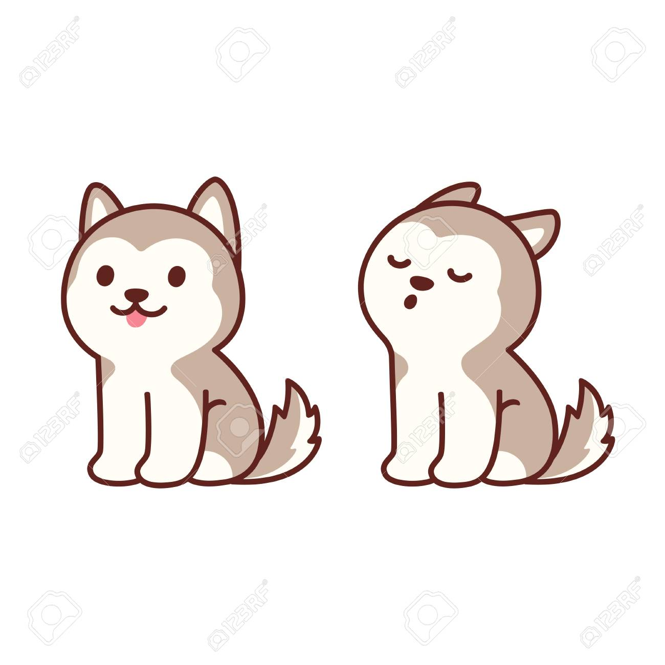 Cute Cartoon Husky Puppy Sitting And Howling Adorable Little Royalty Free Cliparts Vectors And Stock Illustration Image 126771917