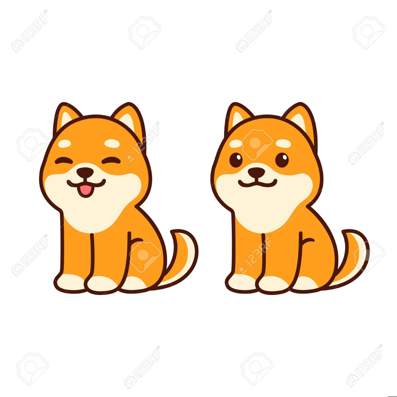 Cute Chiba Inu Puppy Sitting Sticking Out Tongue Happy Cartoon Royalty Free Cliparts Vectors And Stock Illustration Image 121240621