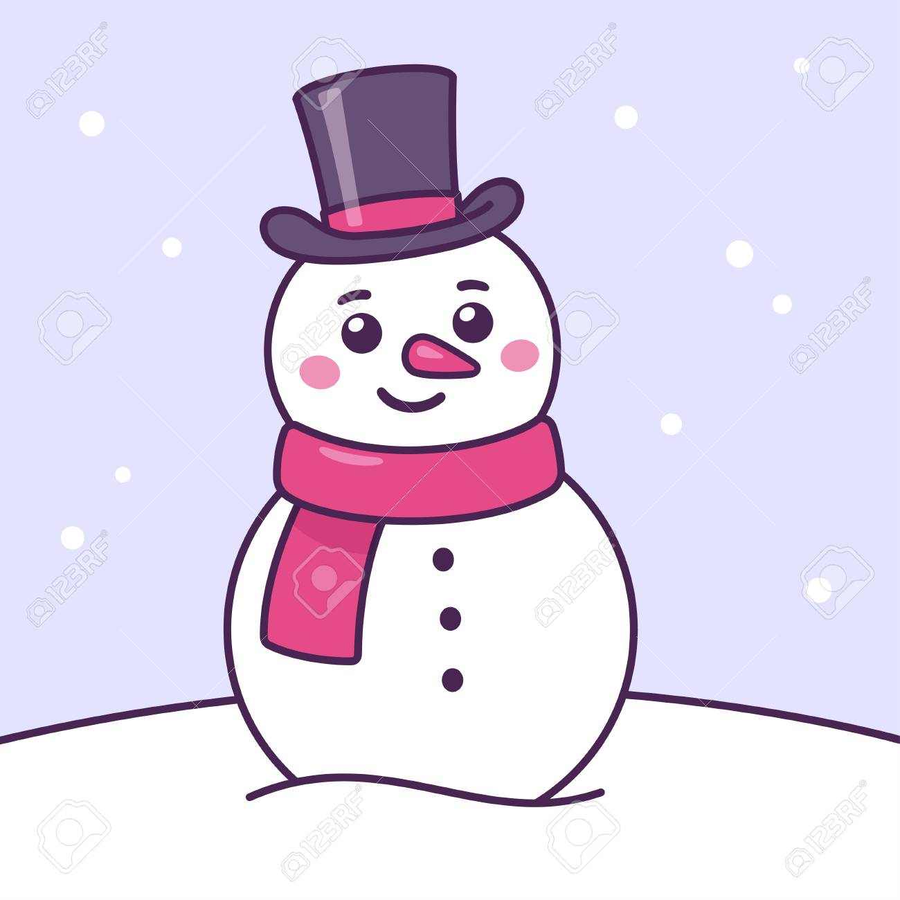 Cartoon snowman drawing in scarf and top hat. Cute Christmas..
