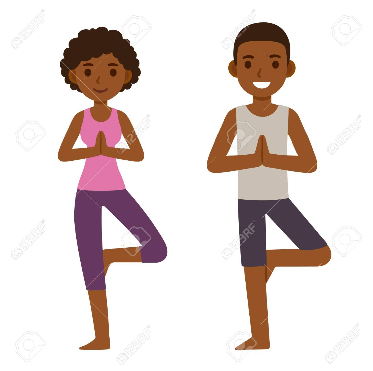 Cute Cartoon Black Couple Doing Yoga Young Man And Woman In Royalty Free Cliparts Vectors And Stock Illustration Image 126321413