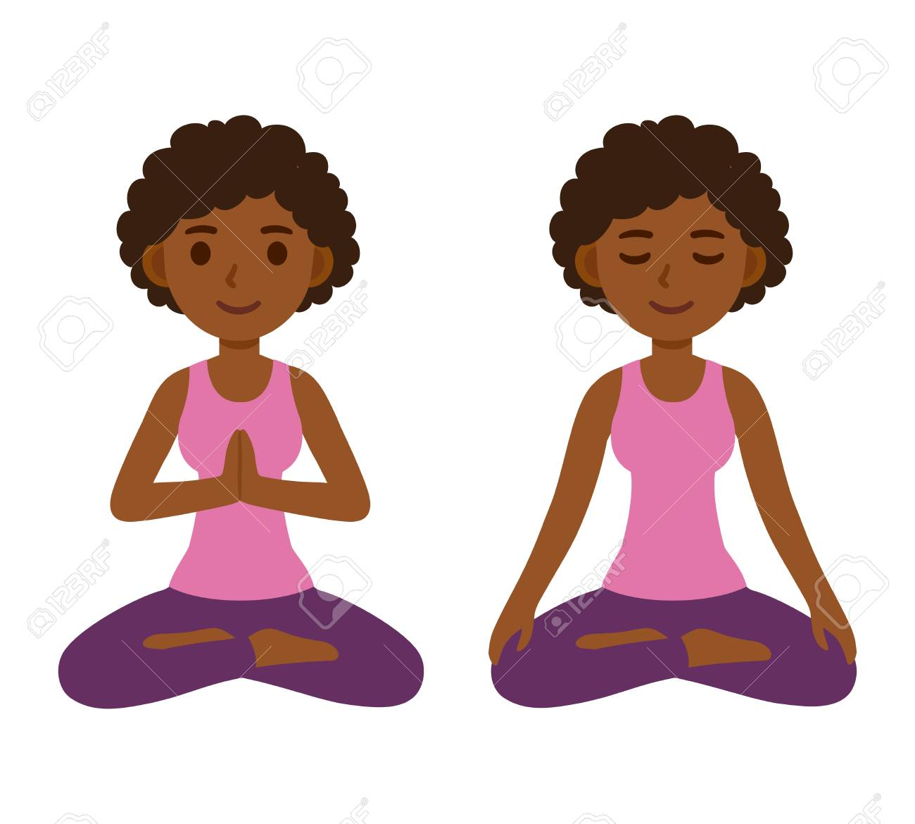 Cute Cartoon Black Girl Doing Yoga And Meditating In Lotus Pose Royalty Free Cliparts Vectors And Stock Illustration Image 125668100