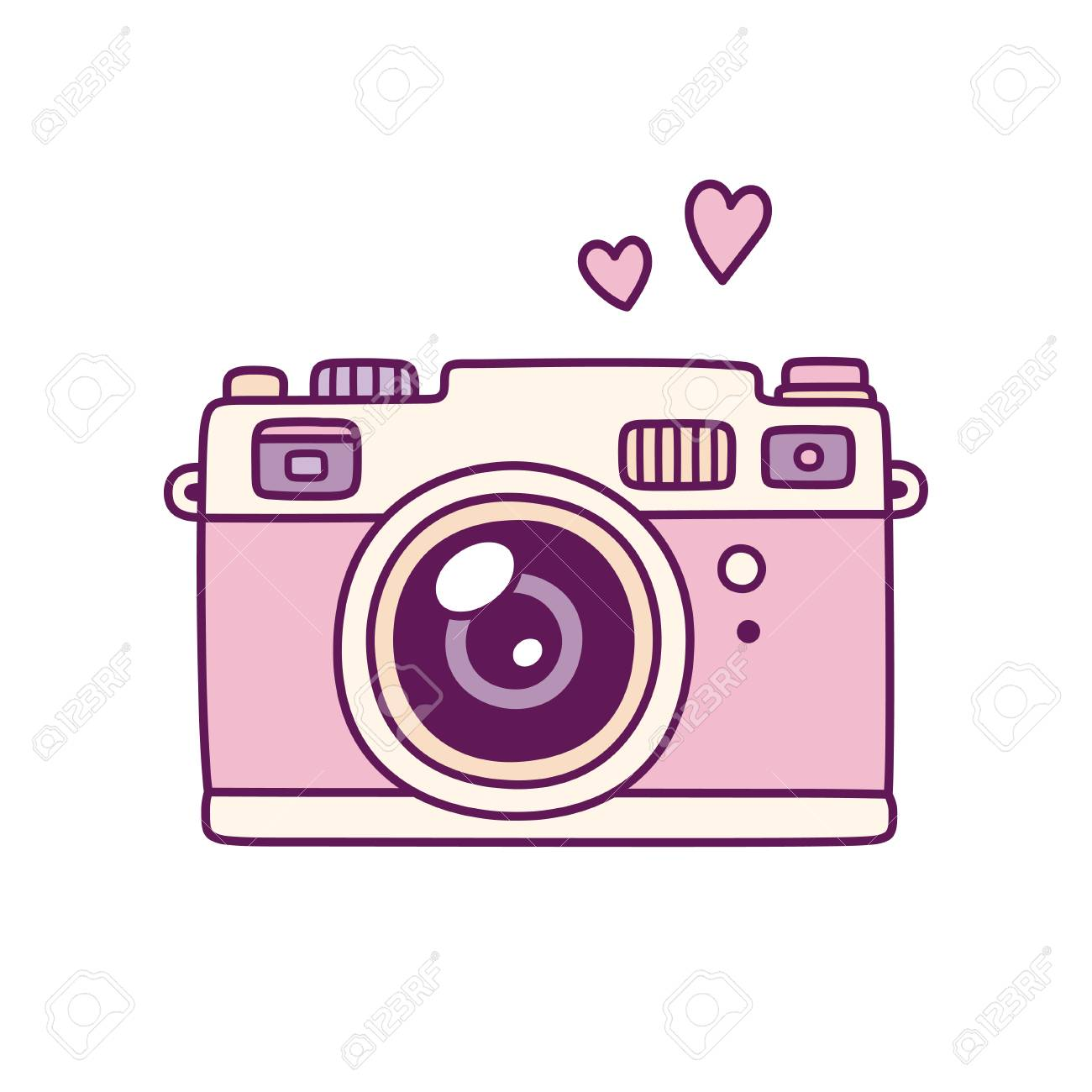 Vintage Photo Camera Cute Pink Doodle Style Drawing With Hearts