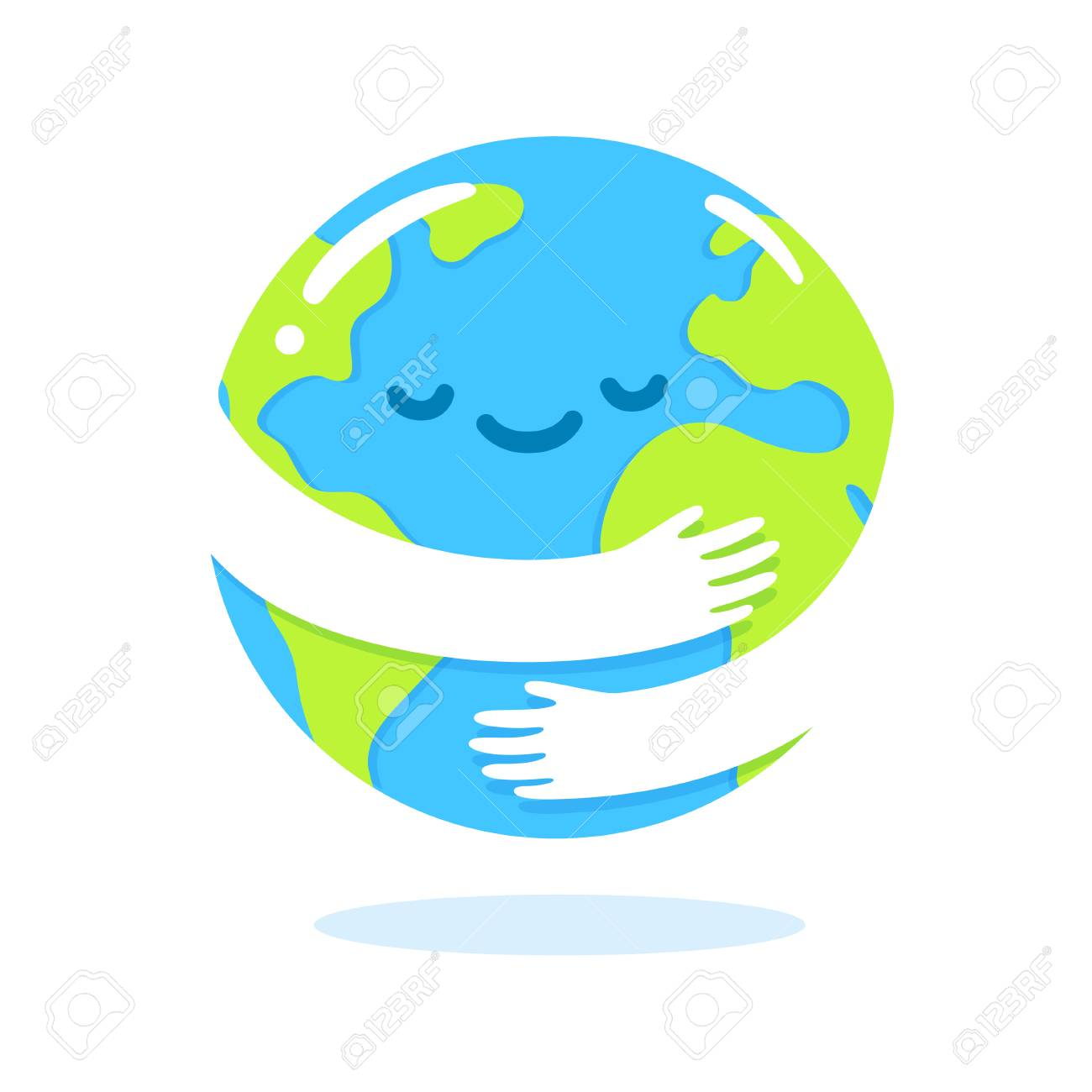 Save the planet, Earth hug drawing. Cute cartoon Earth Day vector clip art illustration. - 124789934