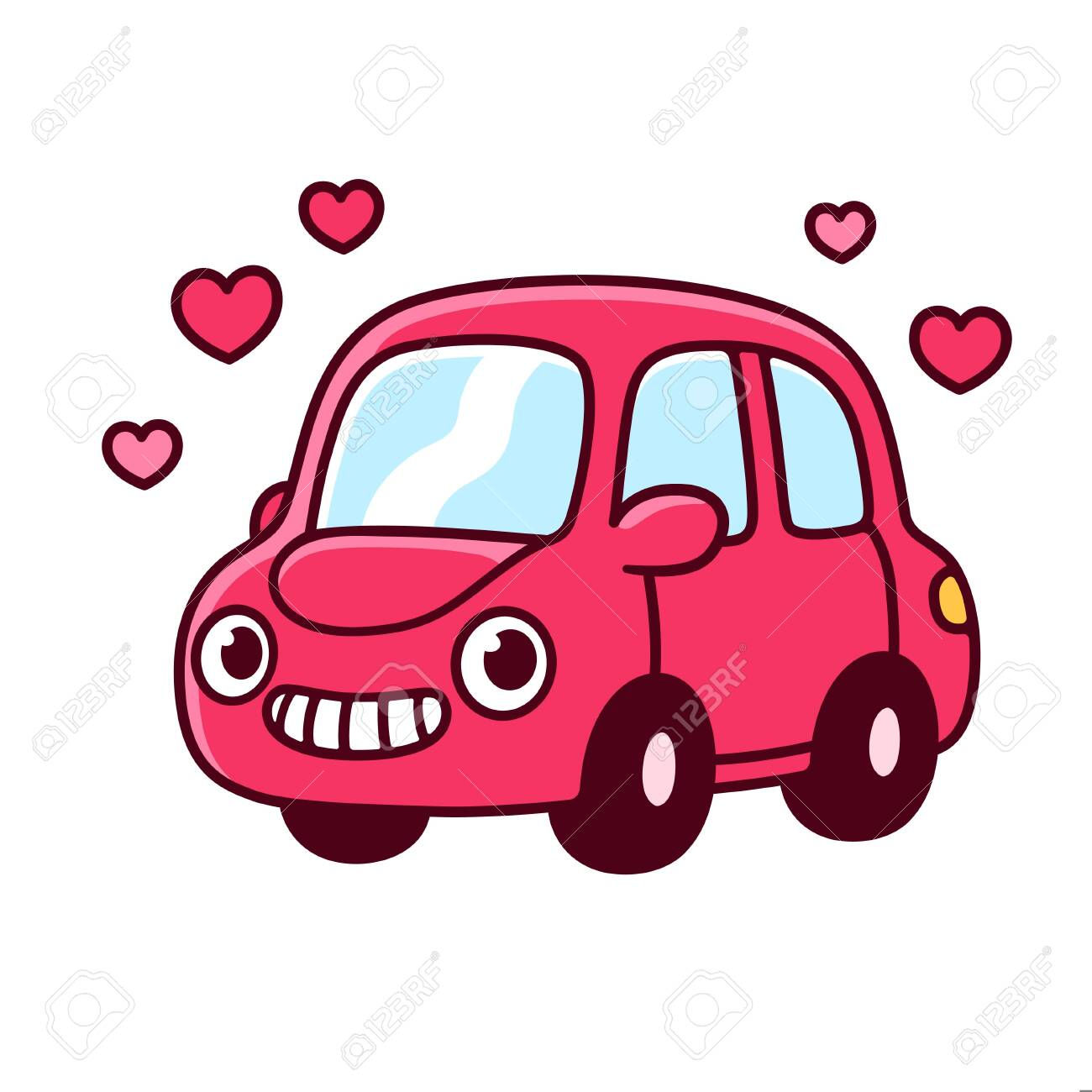 Cute Cartoon Car Drawing With Funny Face Adorable Little Car