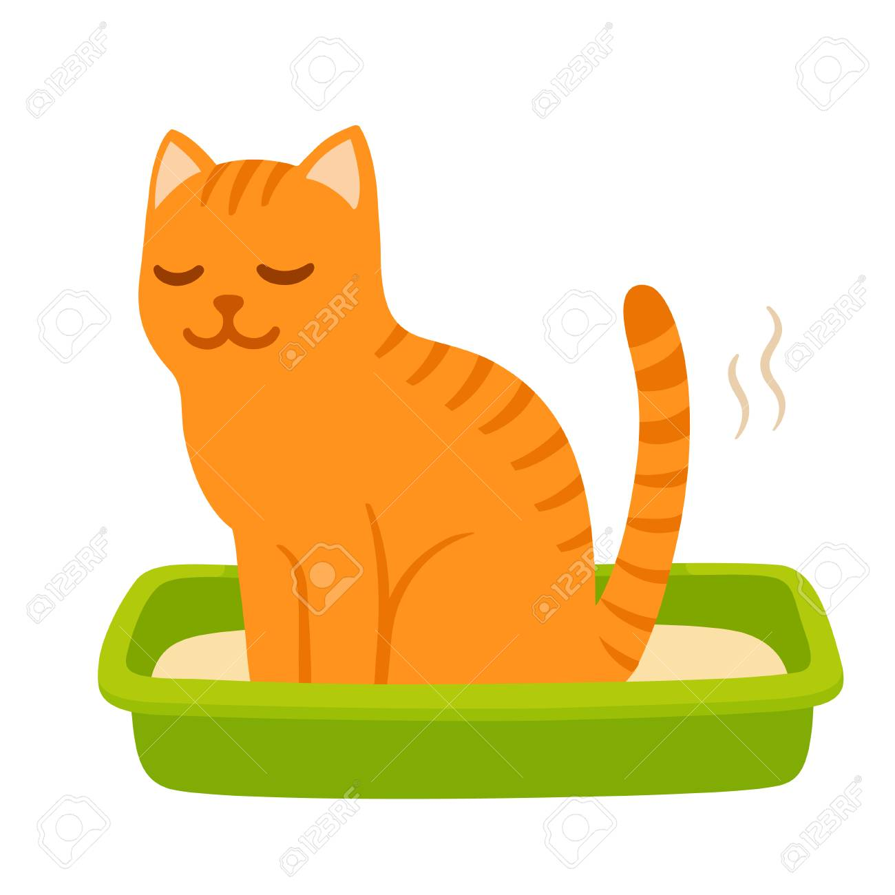 Cartoon Cat Pooping In Litter Box Cute And Funny Kitty Drawing