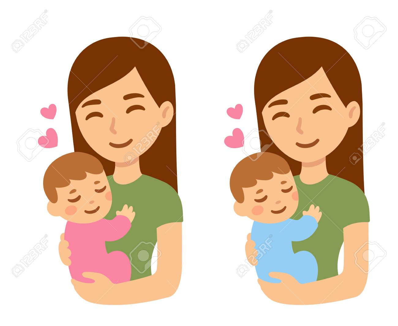 Cute Cartoon Mother With Baby Boy And Girl Happy Young Woman Royalty Free Cliparts Vectors And Stock Illustration Image 121527405