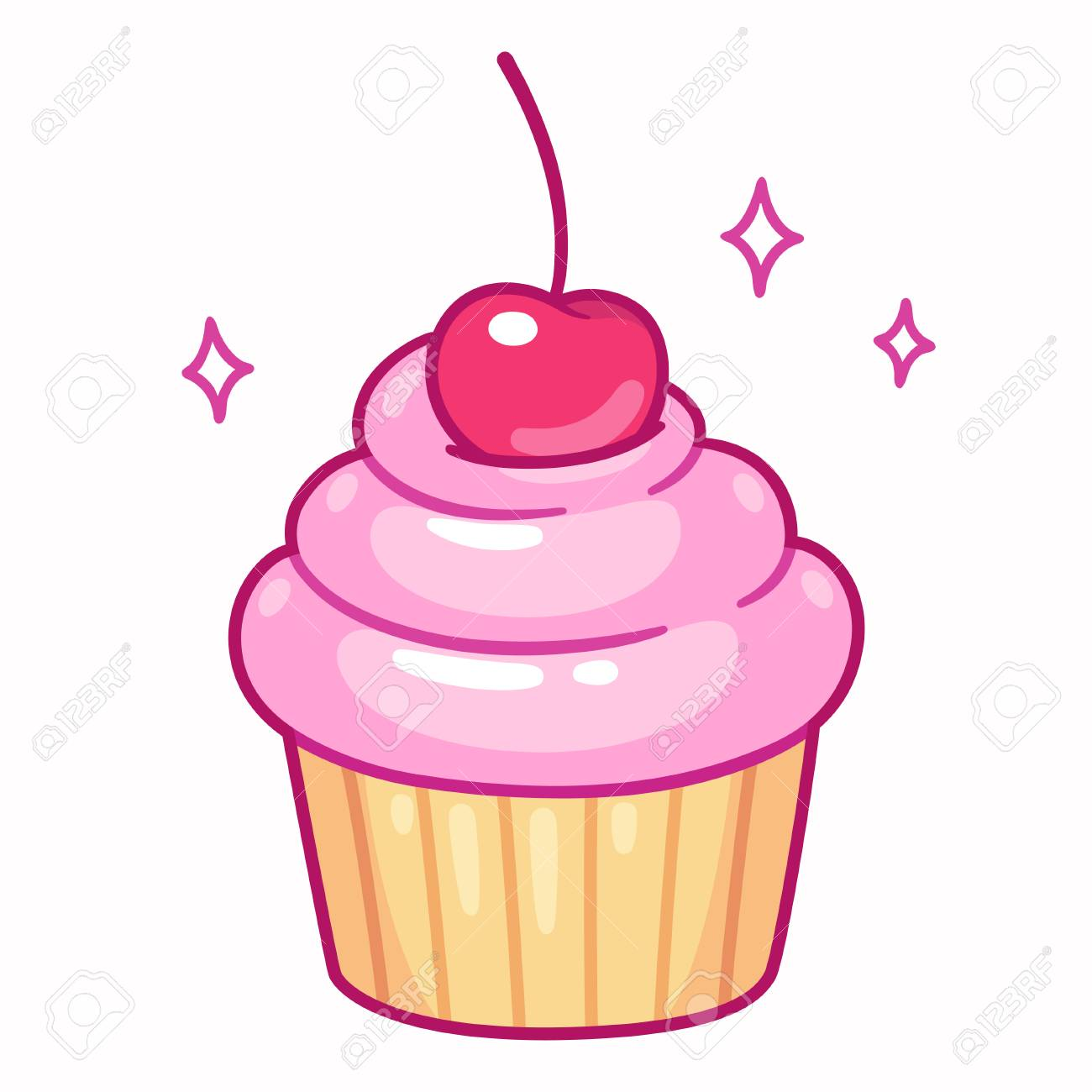 Cute cupcake with pink frosting and cherry, cartoon drawing