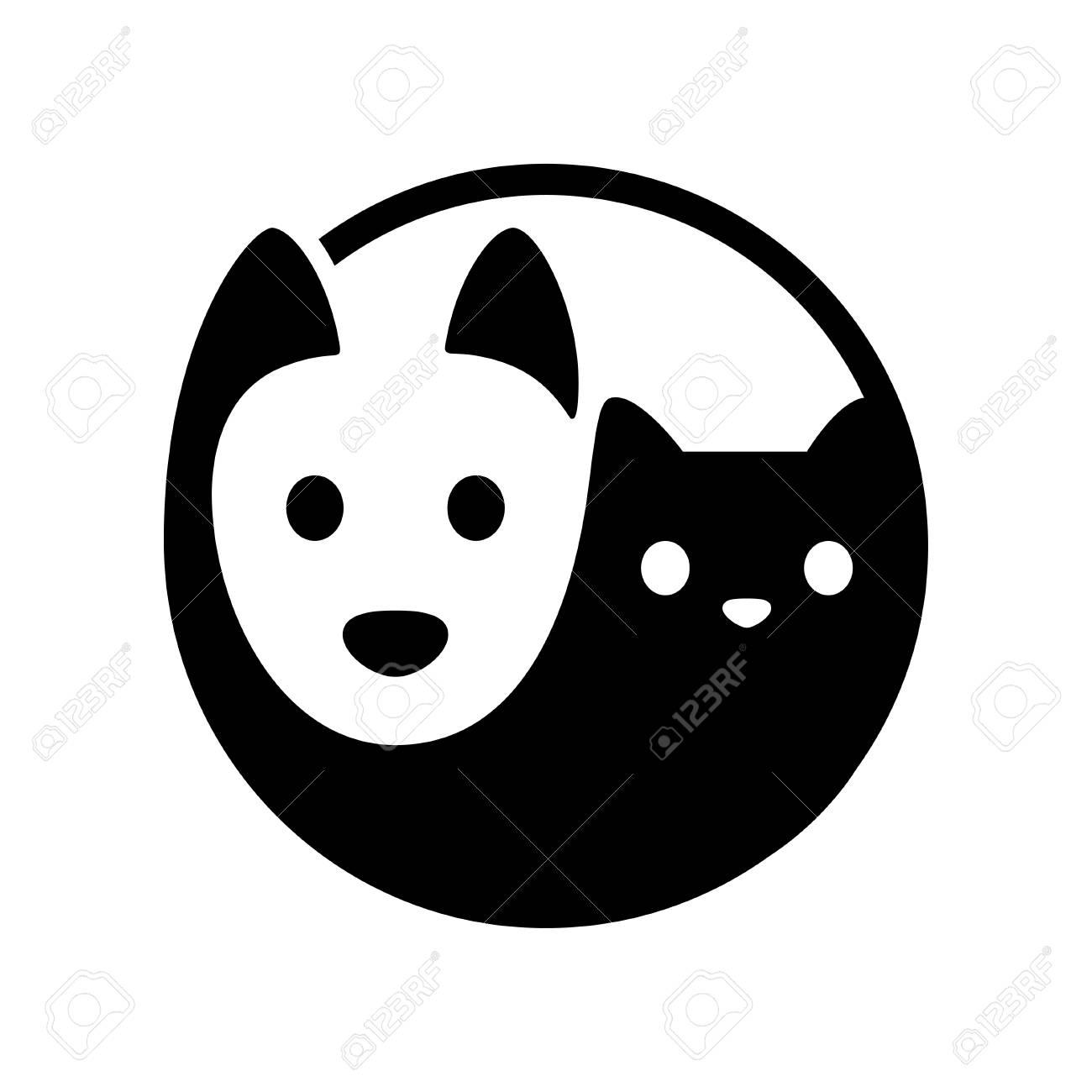 Cat and dog yin yang symbol. Simple, minimal cartoon white dog..