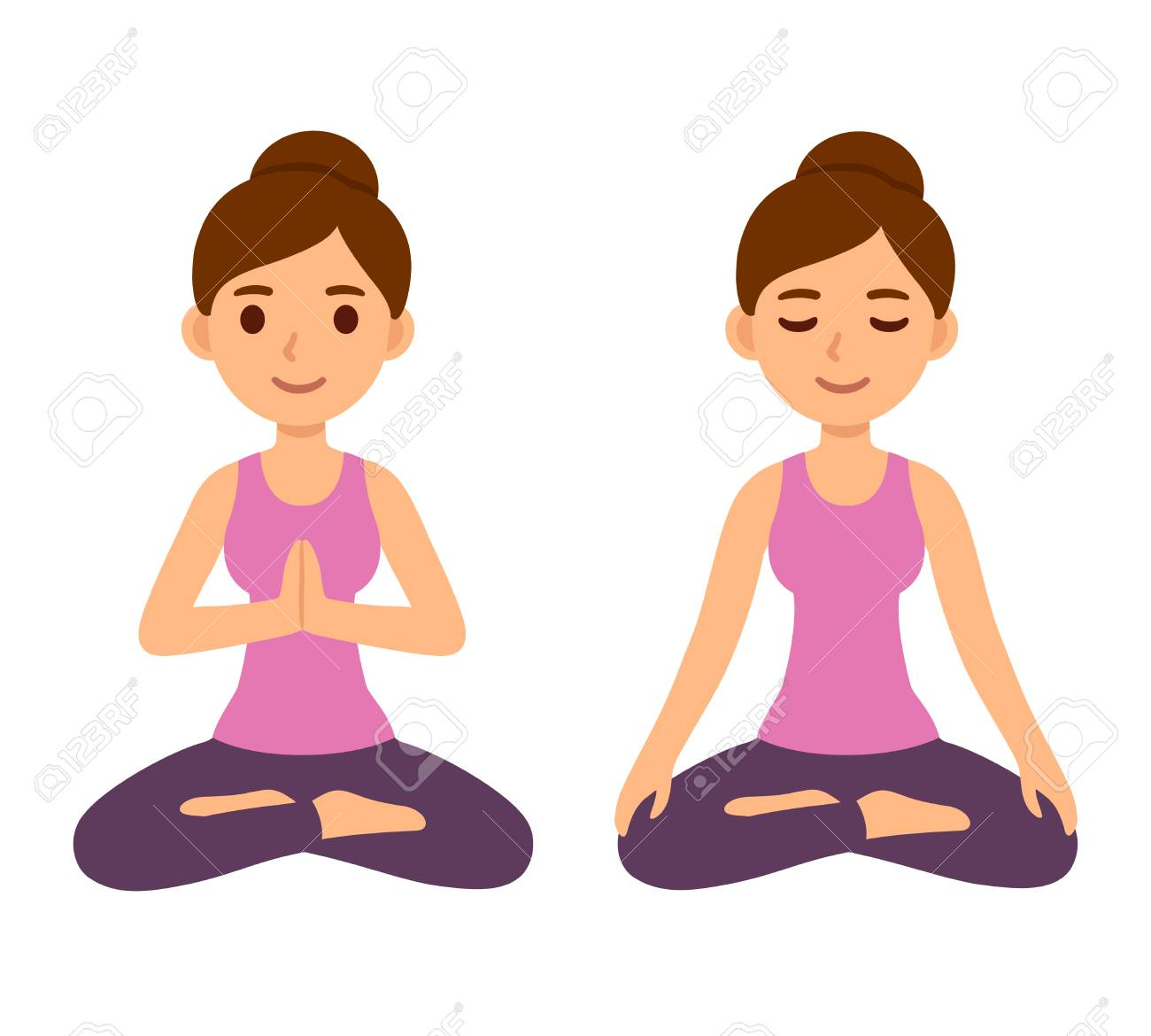 Cute Cartoon Young Woman Doing Yoga And Meditating In Lotus Pose Royalty Free Cliparts Vectors And Stock Illustration Image 128176241