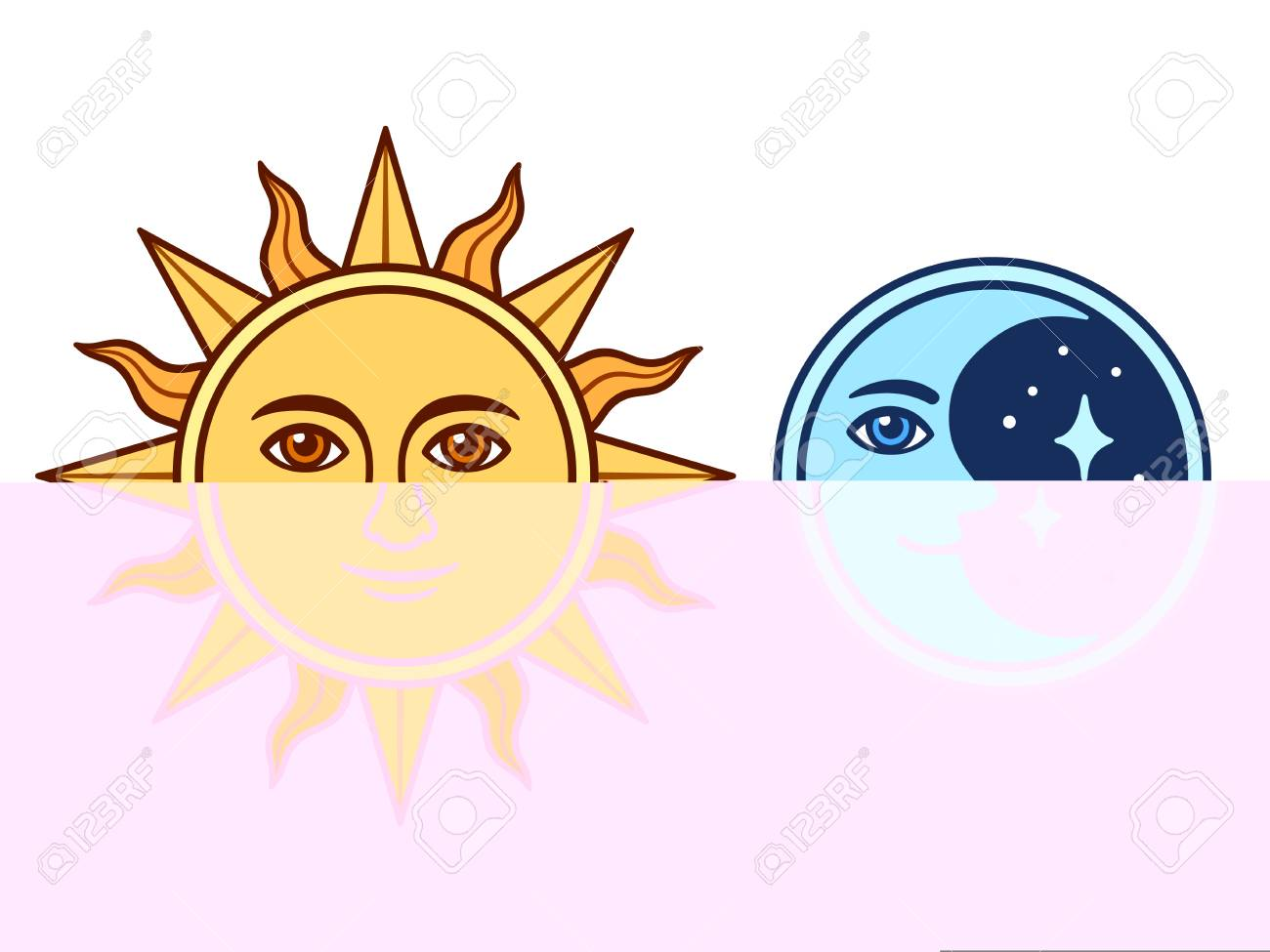 Drawing Celestial Sun And Moon