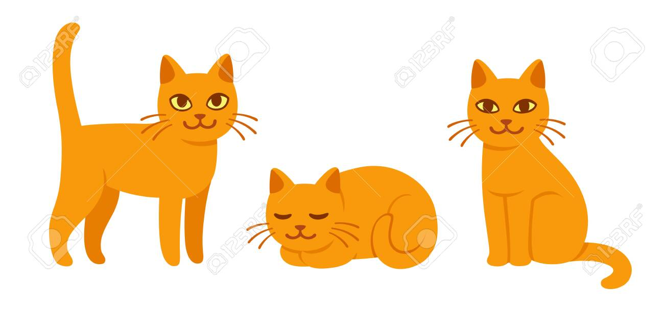 Cute cat drawing set in different poses. Sitting, standing and..