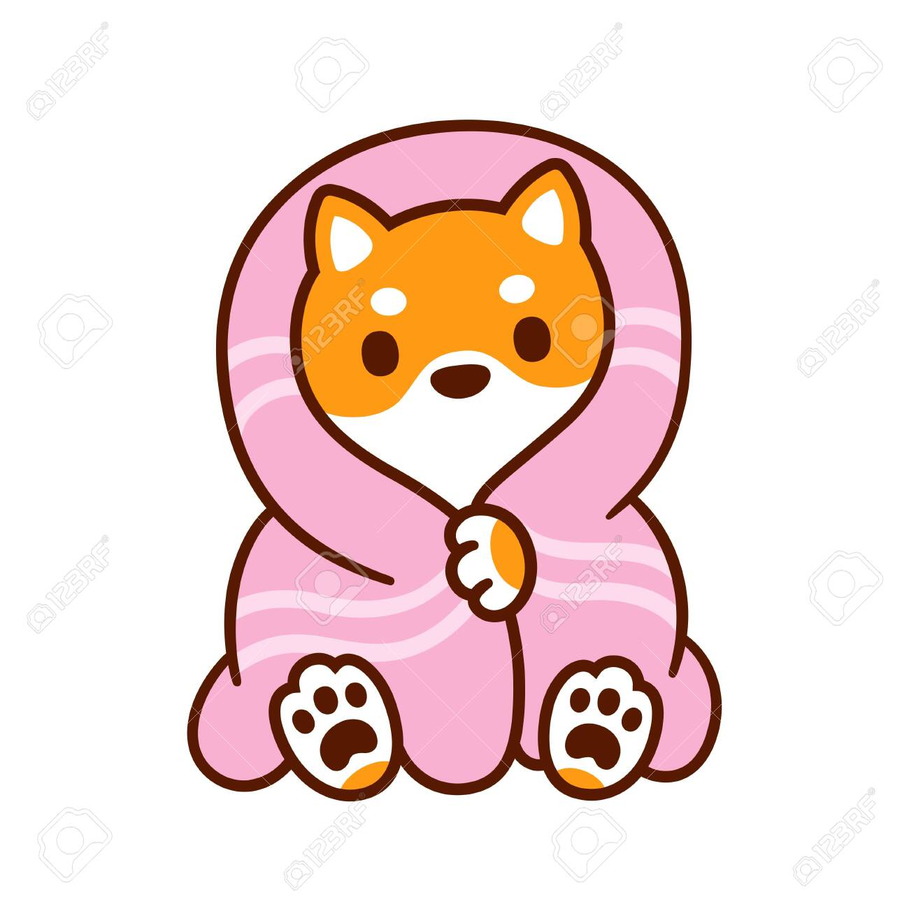 Cute Cartoon Dog With Blanket Kawaii Shiba Inu Puppy In Warm Royalty Free Cliparts Vectors And Stock Illustration Image 134574062