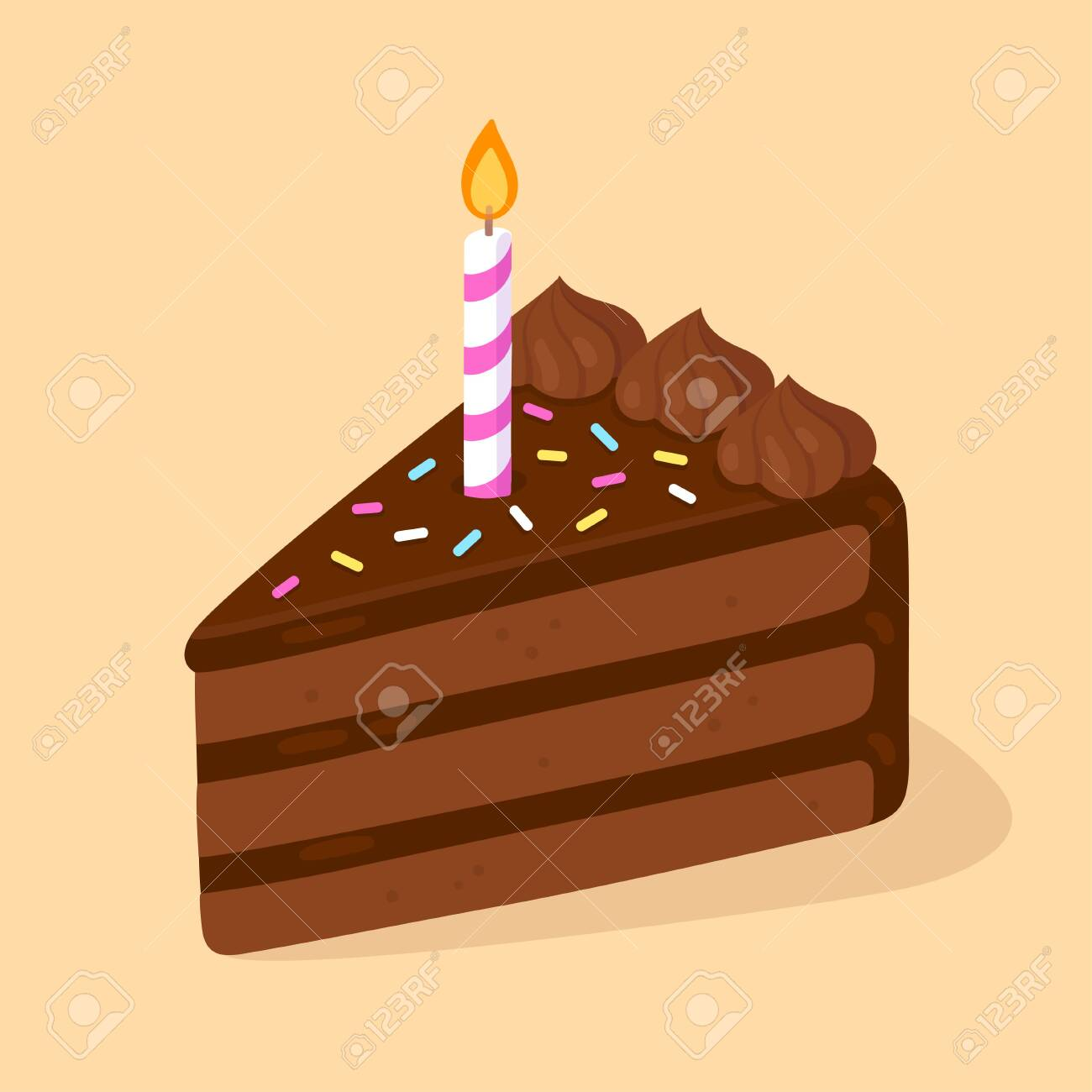 Slice Of Chocolate Birthday Cake With Candle Happy Birthday Royalty Free Cliparts Vectors And Stock Illustration Image 134573914