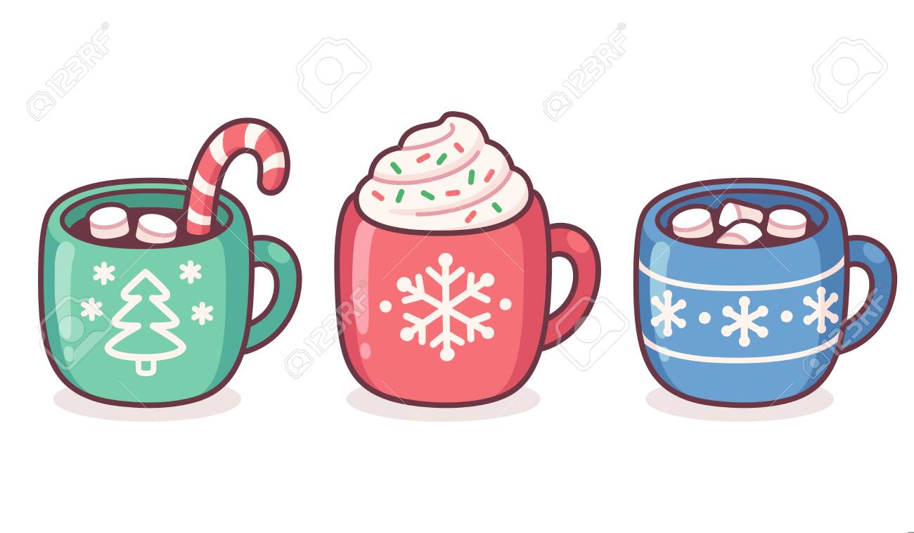 Christmas hot chocolate and coffee cup set. Warm seasonal drinks with candy cane, whipped cream, marshmallows and sprinkles. Cute cartoon vector illustration. - 134573987