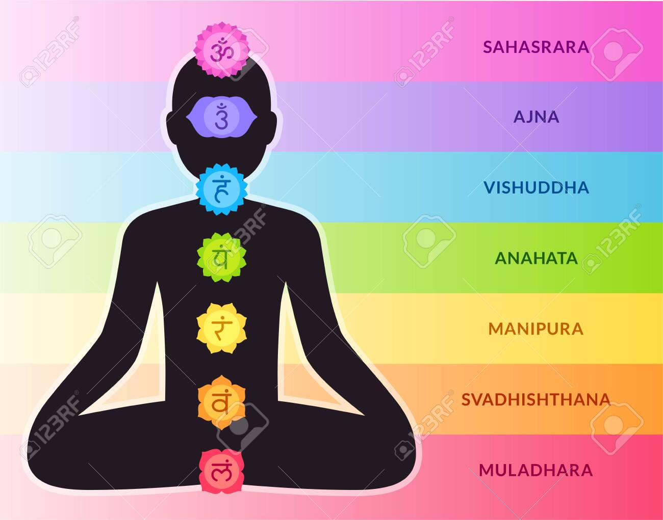 Chakras chart with chakra colors on body silhouette in lotus..