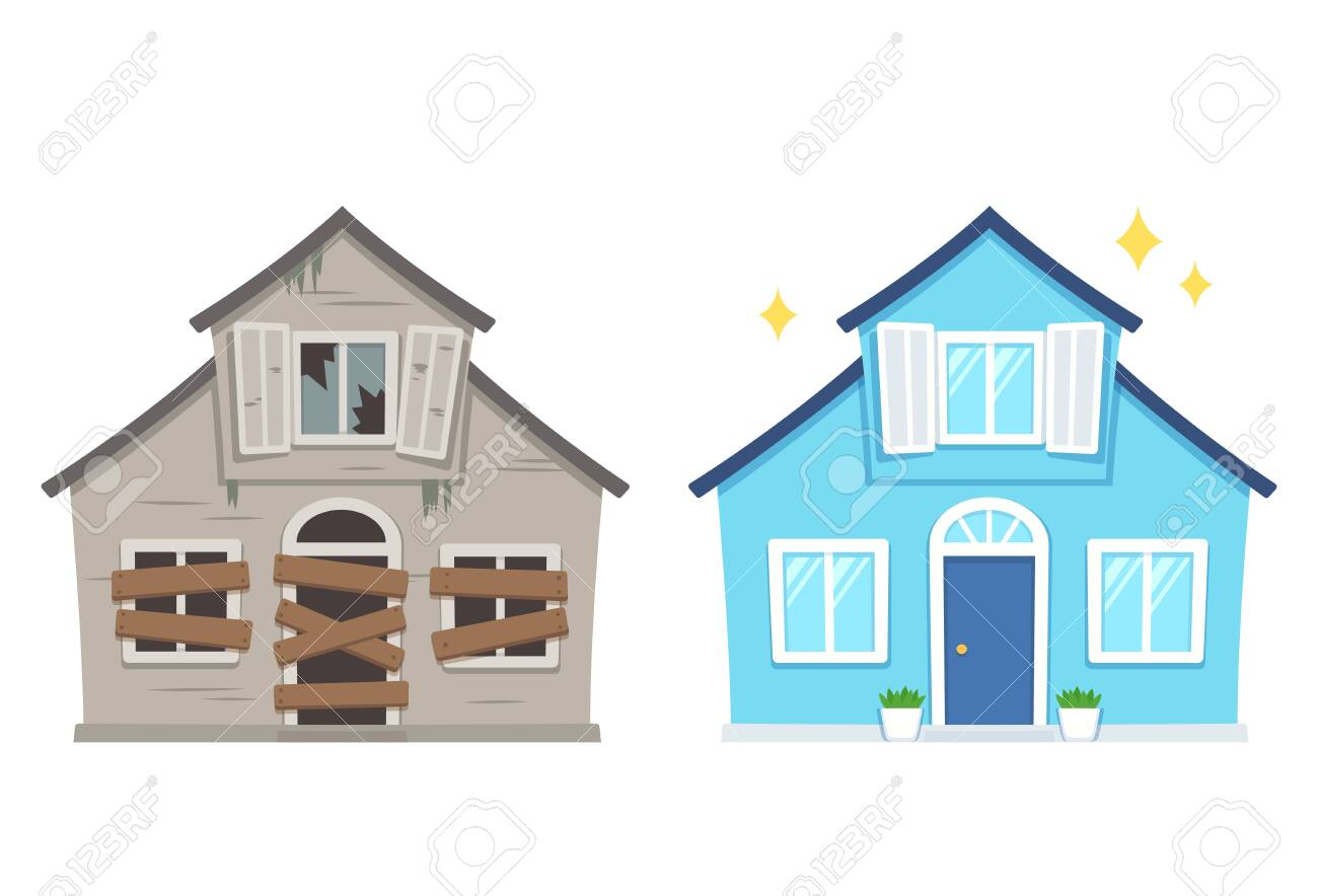 Fixer upper home renovation before and after. Old run-down house remodeled into cute traditional suburban cottage. Isolated vector illustration, flat cartoon style. - 137497332