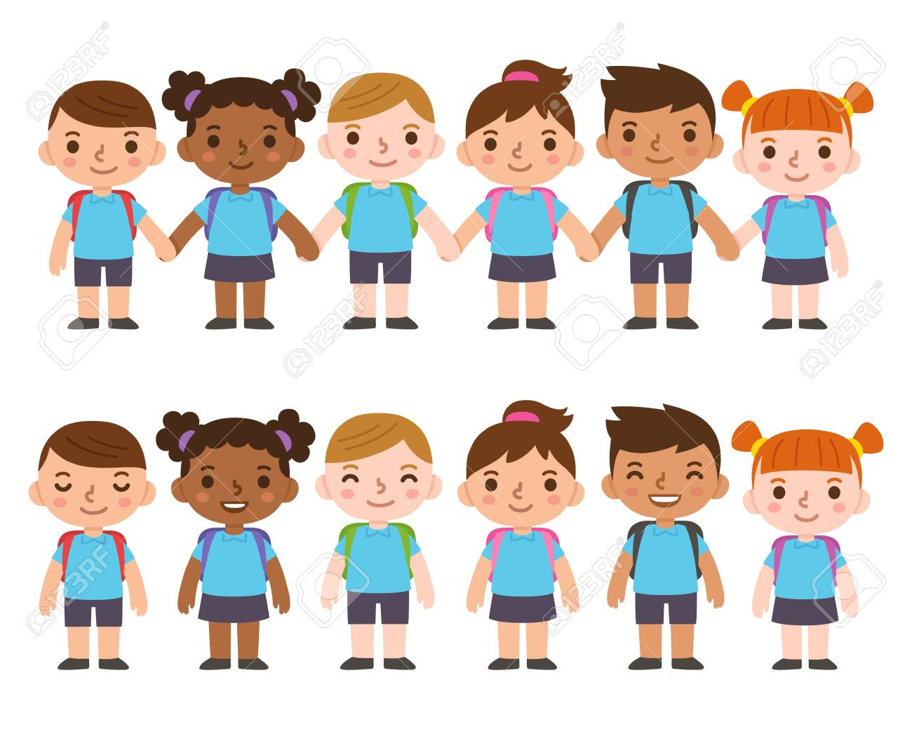 A set of six cute cartoon diverse children wearing school uniform with backpacks and holding hands. International group of kids, boys and girls. Isolated vector clip art illustration. - 141717444