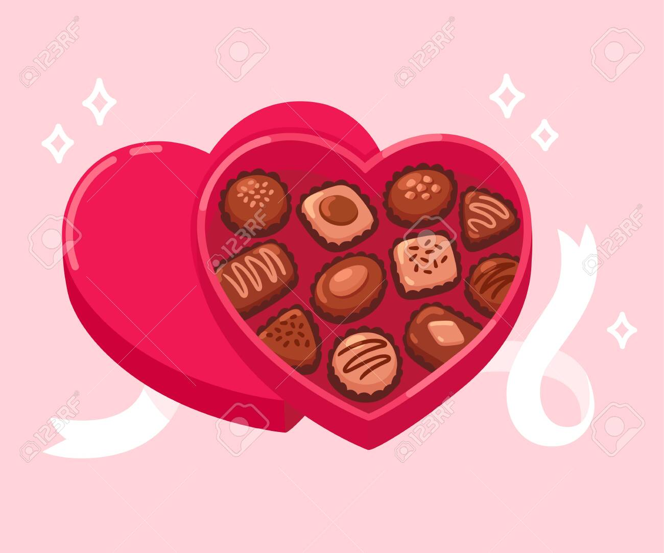 Open Heart Shaped Box Of Chocolates With White Ribbon On Pink Royalty Free Cliparts Vectors And Stock Illustration Image 142224596