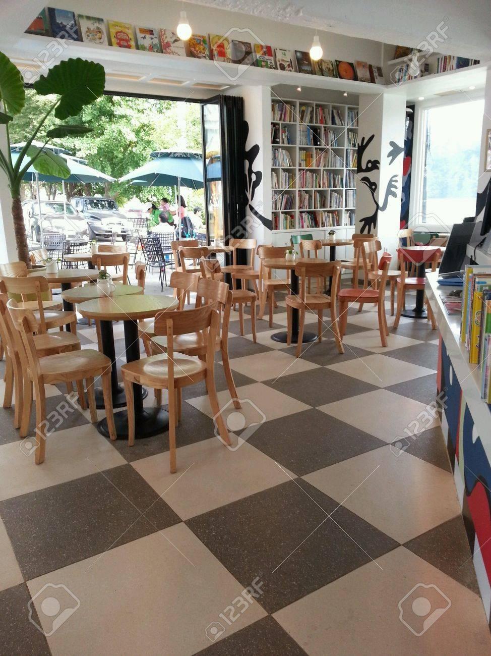 Restaurant Interior Design With Book Shelf Stock Photo