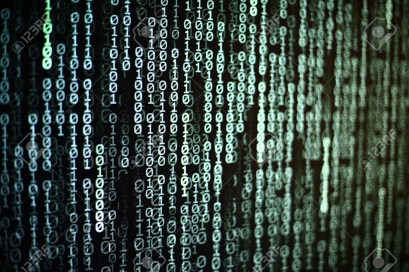 binary text coding background moving vertically on dark blue
