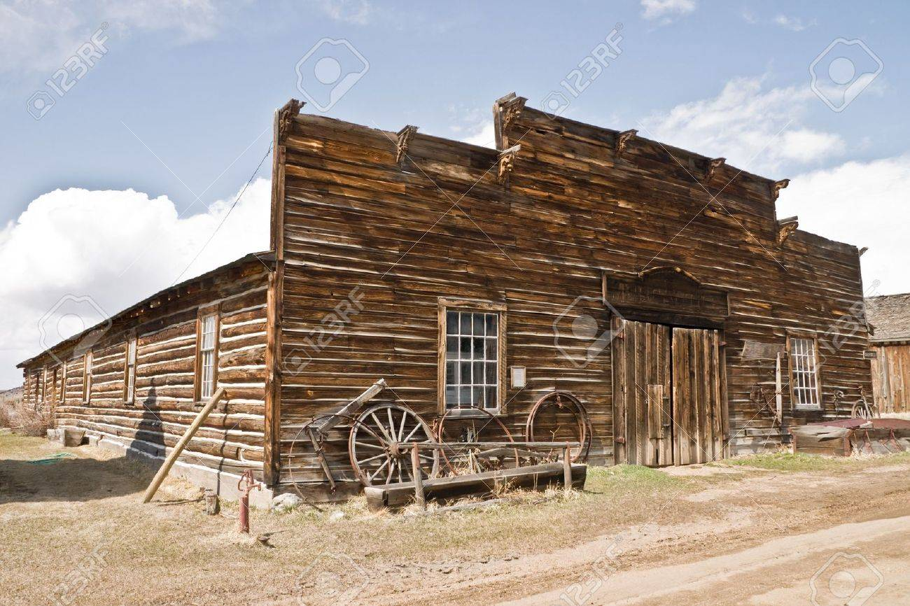 Abandoned Mercantile With Wagon Wheels In Front In The Ghost Stock Photo Picture And Royalty Free Image Image 6368078