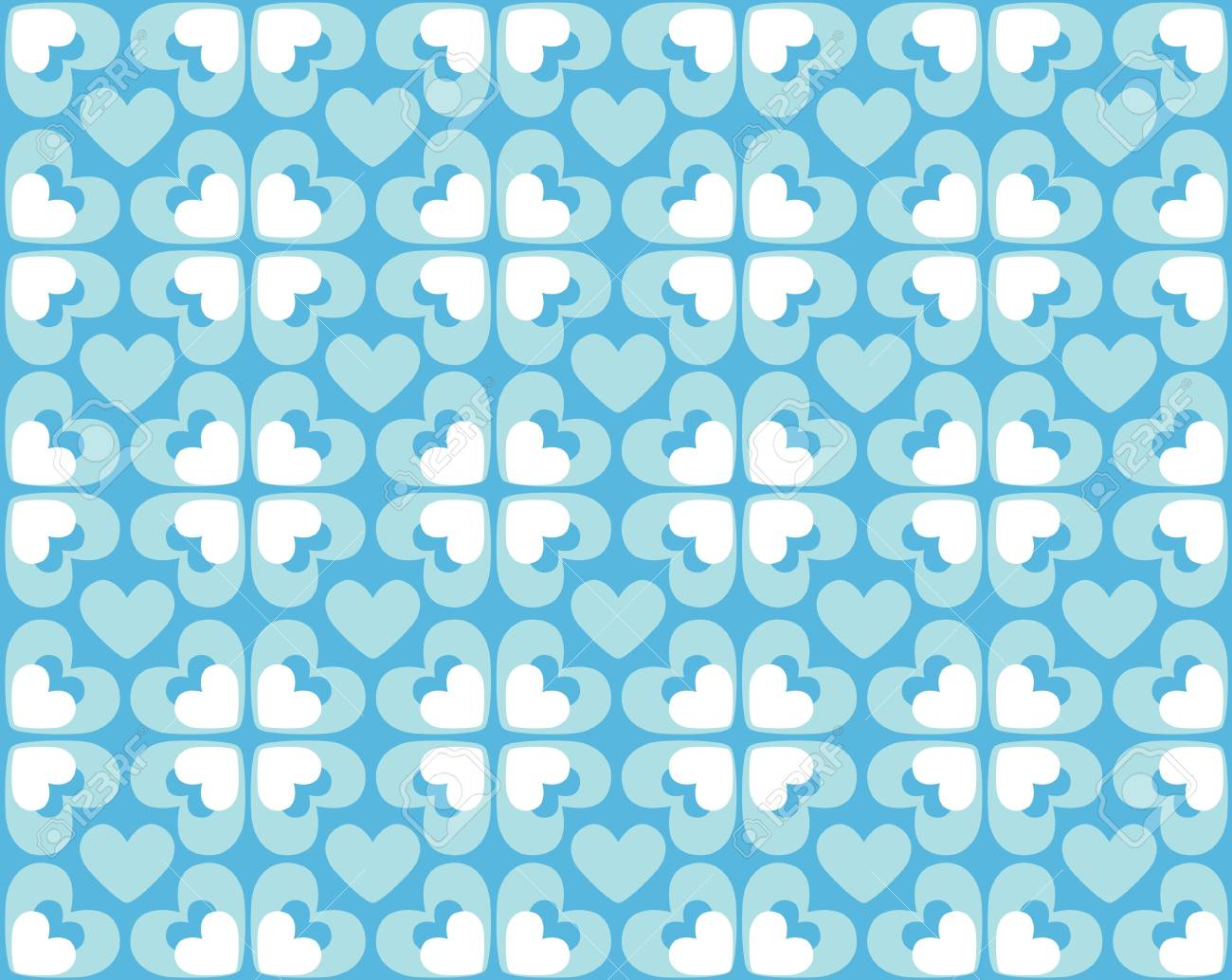 Seamless blue and white pattern of hearts Stock Photo - 4897529