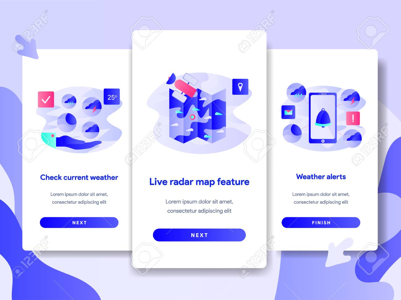 Onboarding screen page template of Weather App Concept  Modern