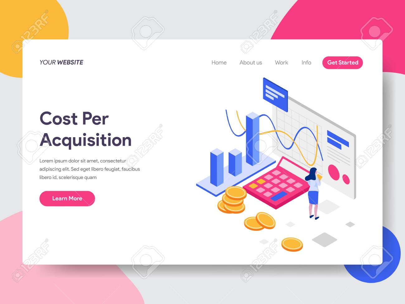 Landing Page Template Of Cost Per Acquisition Isometric Illustration Royalty Free Cliparts Vectors And Stock Illustration Image 127391802