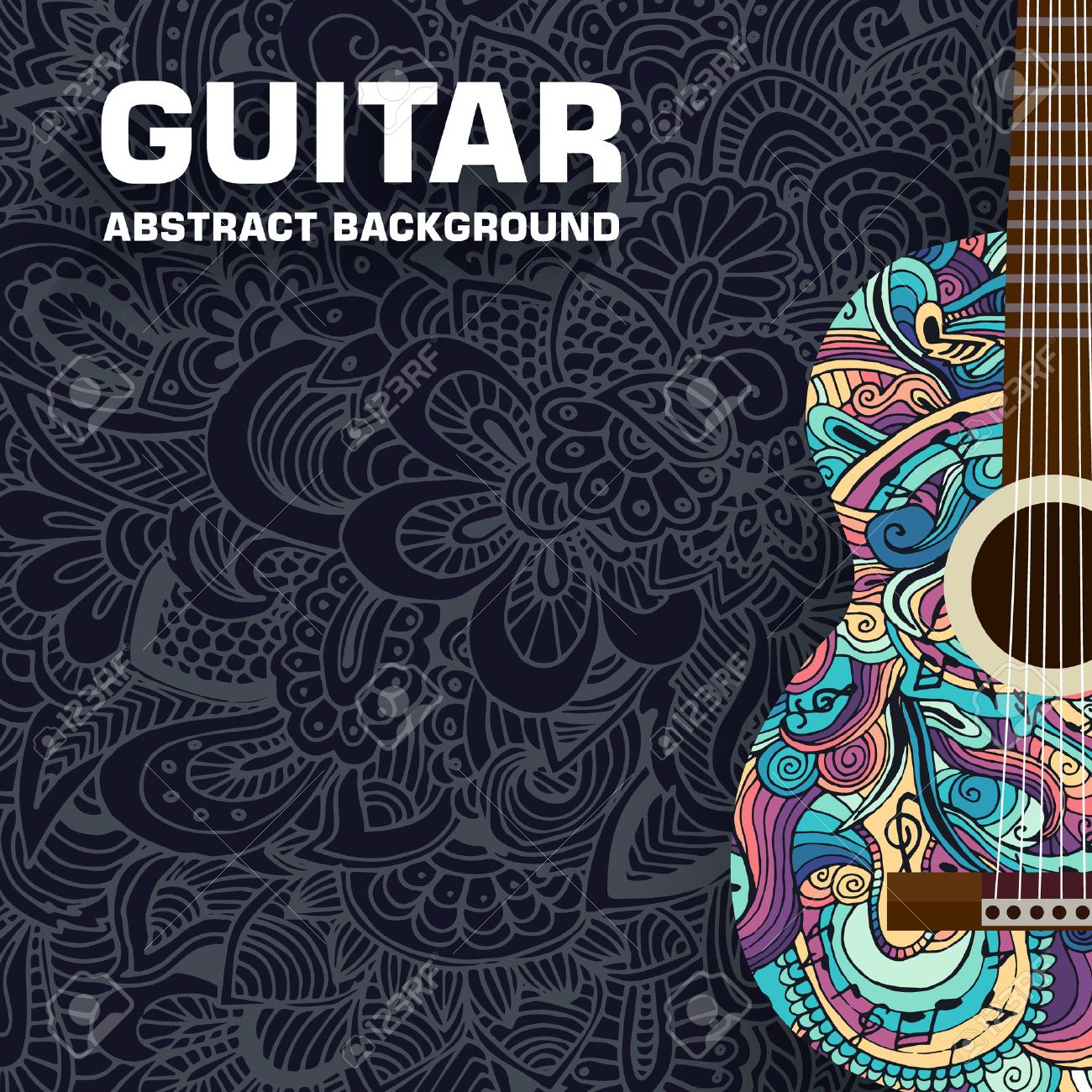 Abstract retro music guitar on the background of the ornament. Vector illustration concept design - 34278871