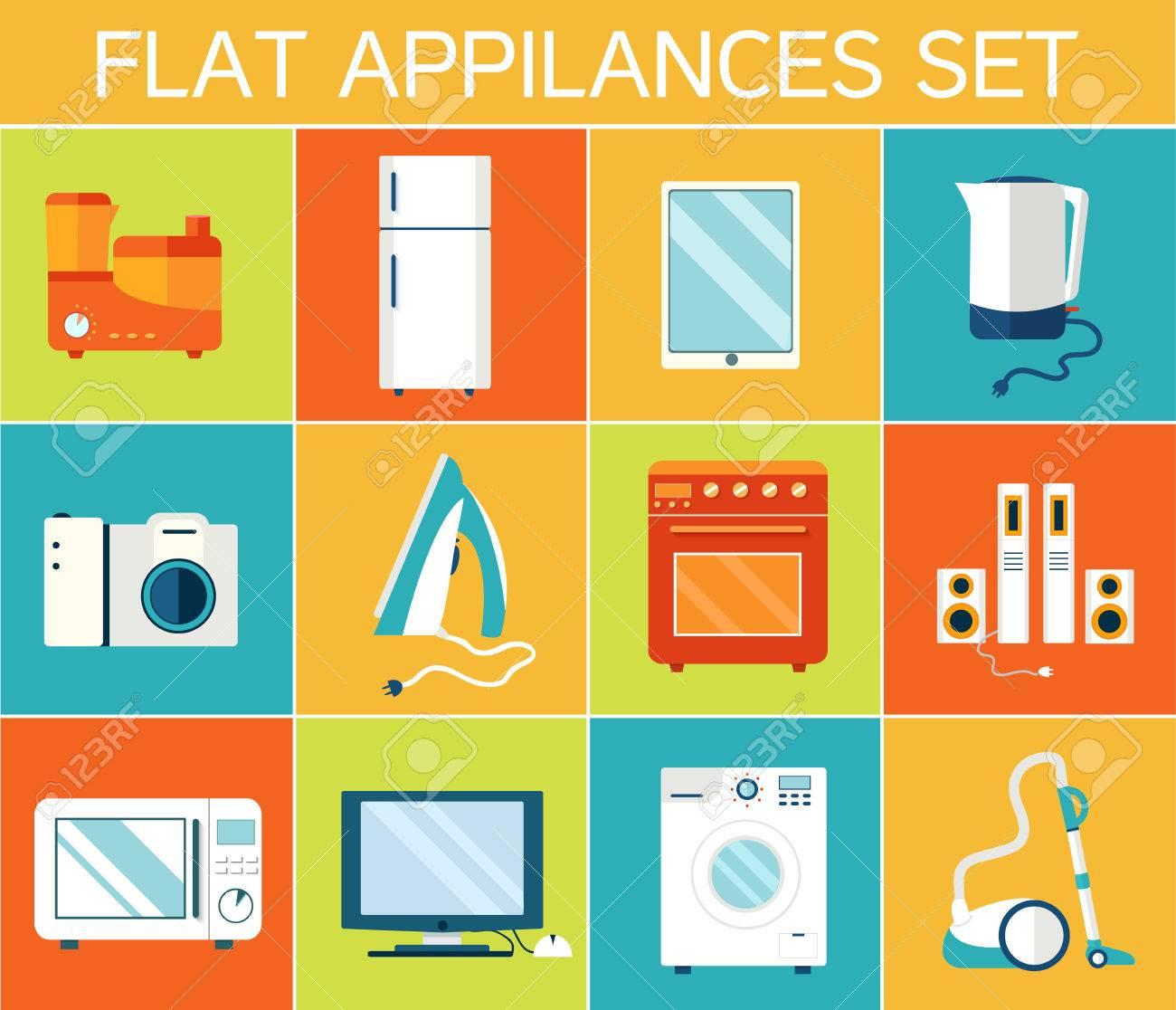 Flat modern kitchen appliances set icons concept. Vector illustr - 34292777