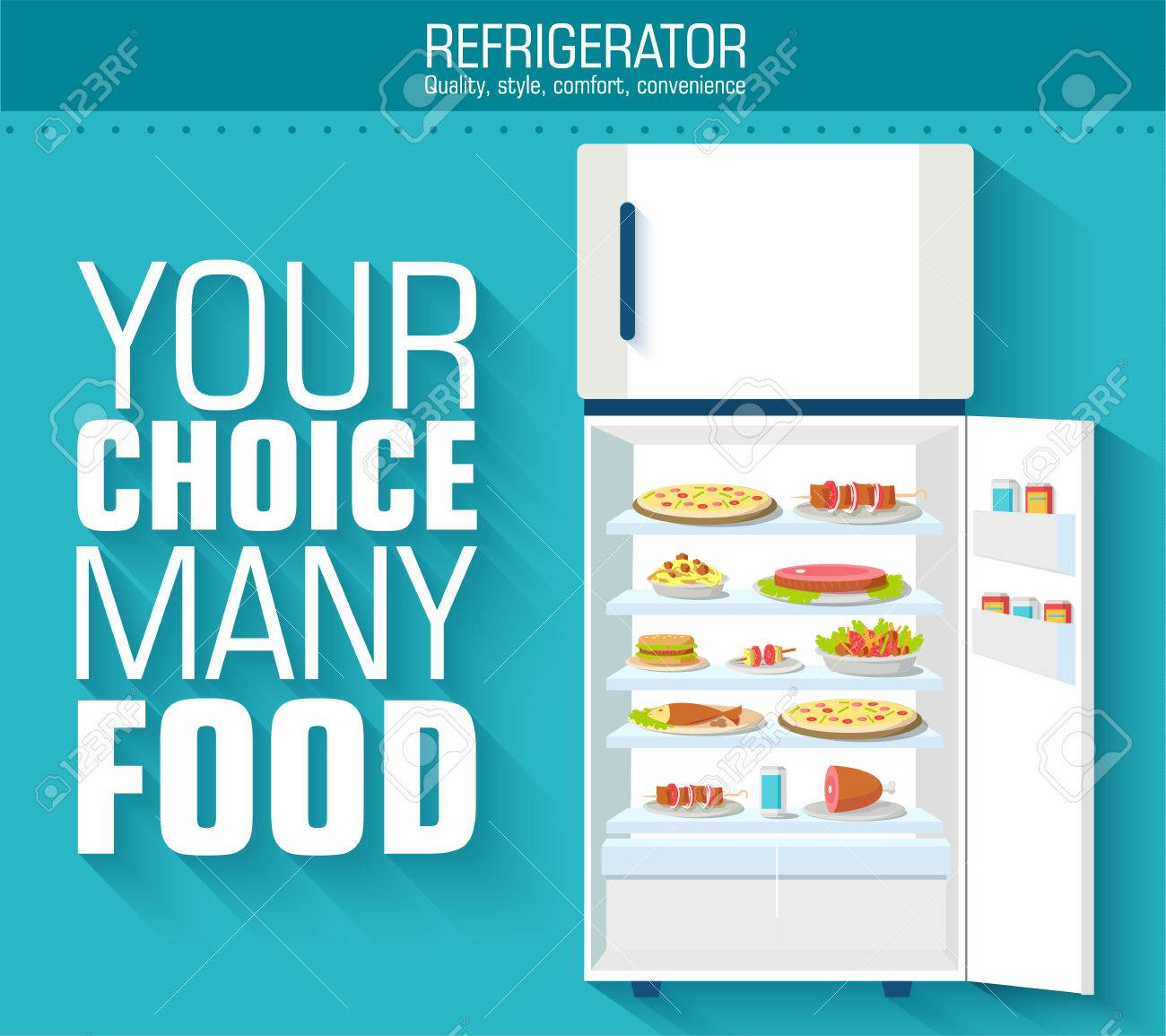 Flat fridge full of many food background concept. Vector illustr - 34292788