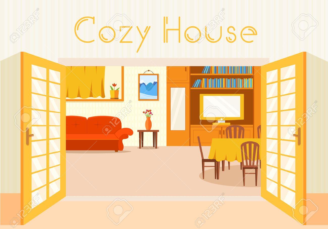 平らな居心地の良い部屋にオープンドア背景ベクトル イラスト家の中のイラスト素材 ベクタ Image